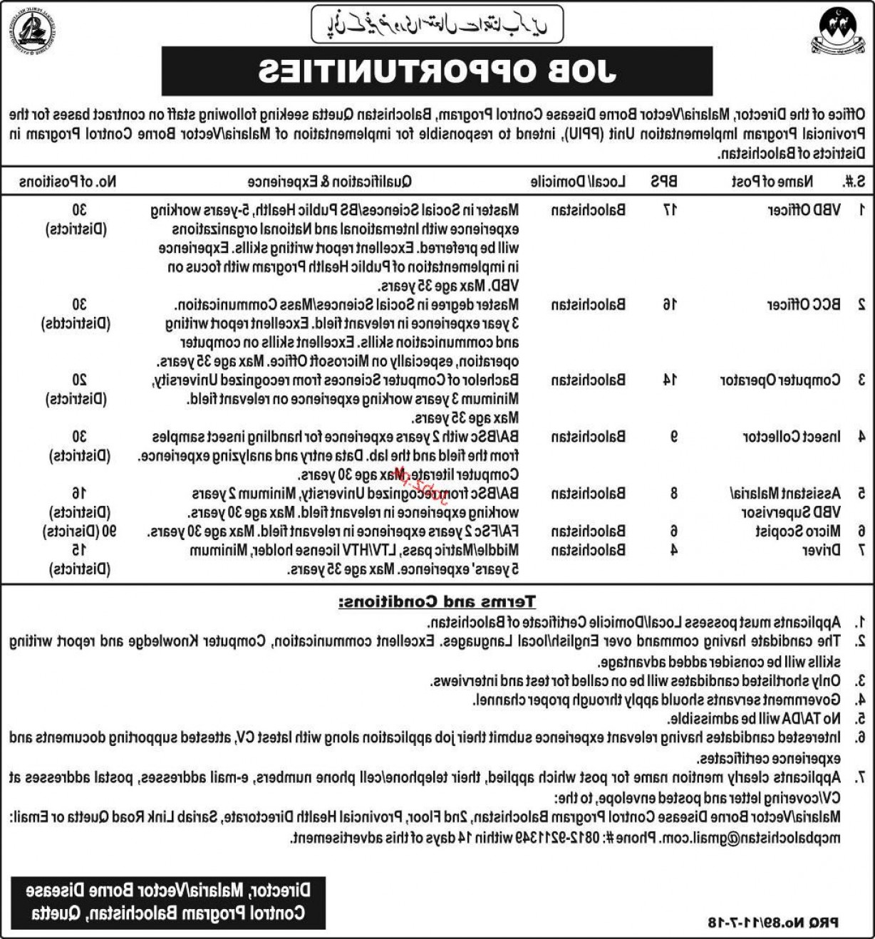 Vector Job Opportunities: Malaria Vector Borne Disease Control Program Balochistanjobs