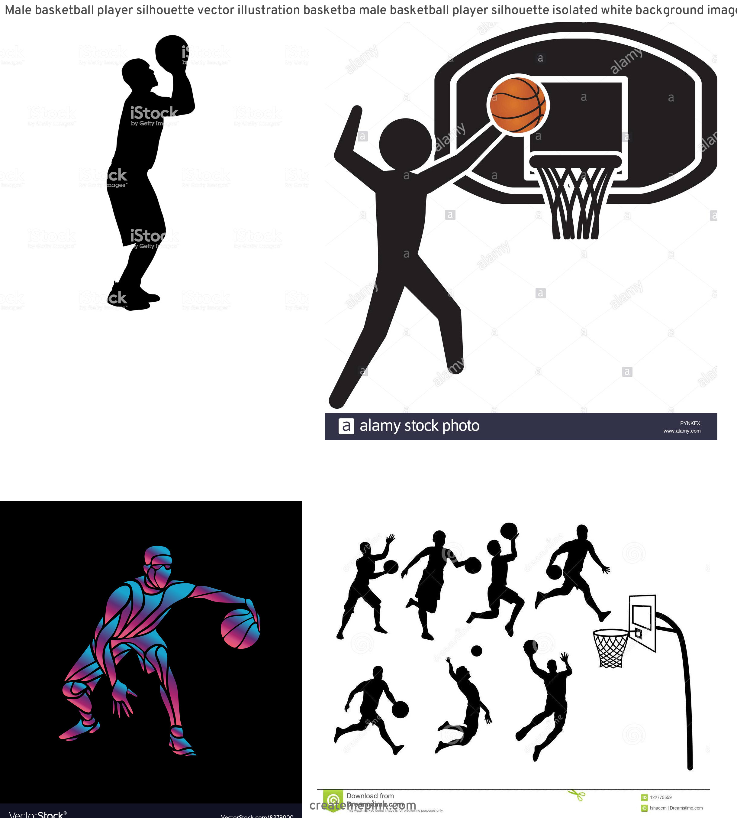 Basketball Player Silhouette Vector Illustration: Male Basketball Player Silhouette Vector Illustration Basketba Male Basketball Player Silhouette Isolated White Background Image