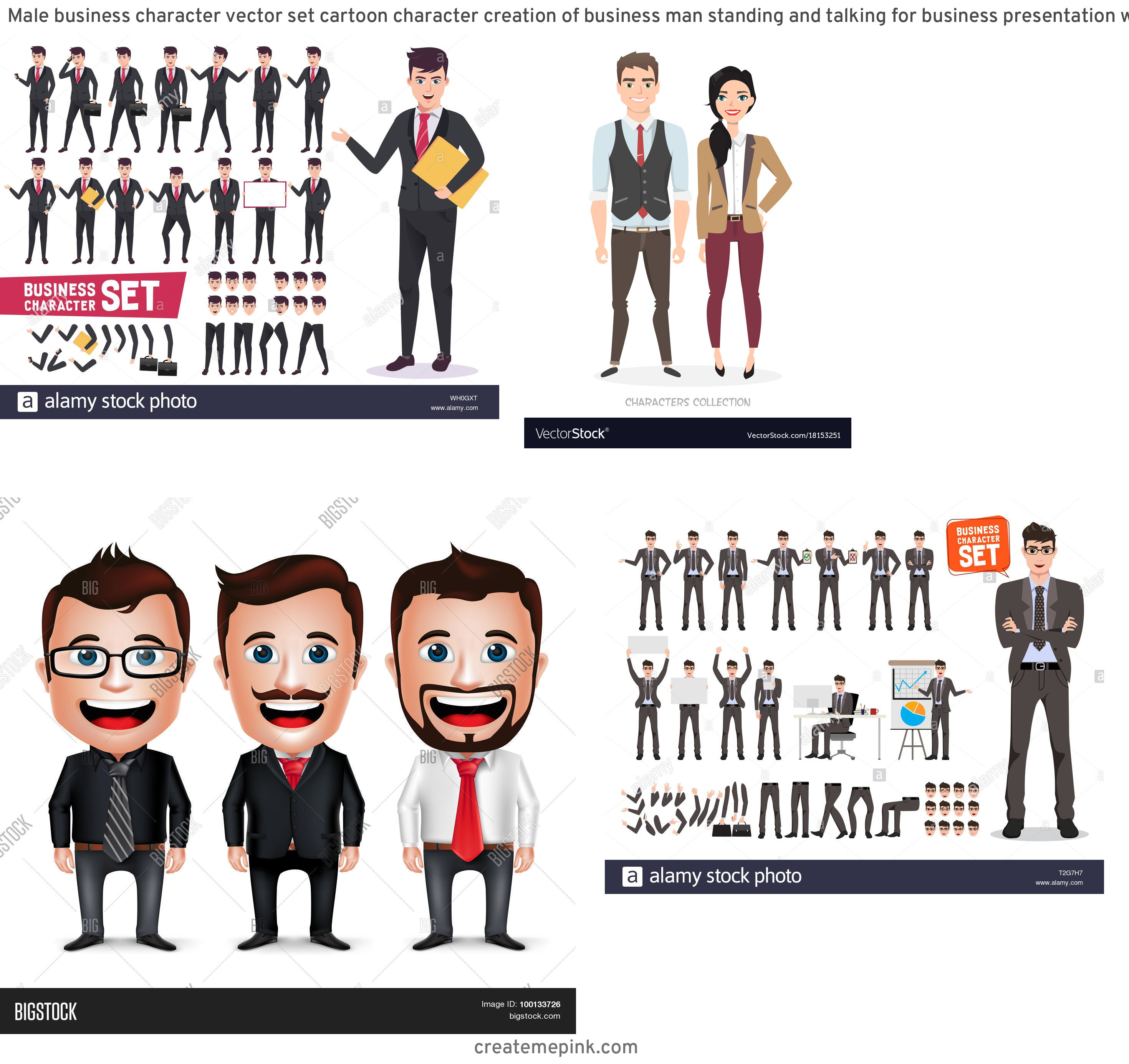 Vector Business Attire: Male Business Character Vector Set Cartoon Character Creation Of Business Man Standing And Talking For Business Presentation Wearing Office Attire Image