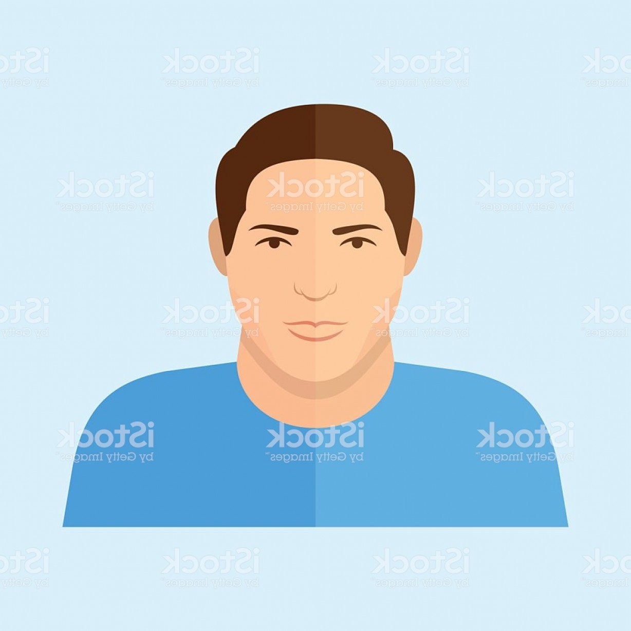 Male Face Icon Vector: Male Character Man Face Flat Icon Gm