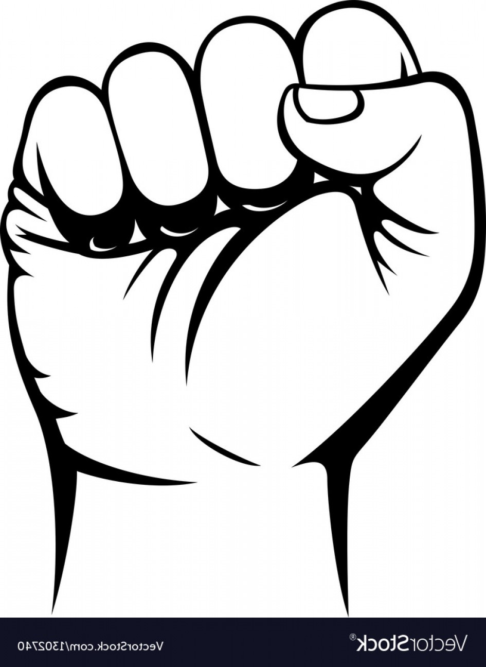Hand Fist Vector: Male Clenched Fist Hand Vector