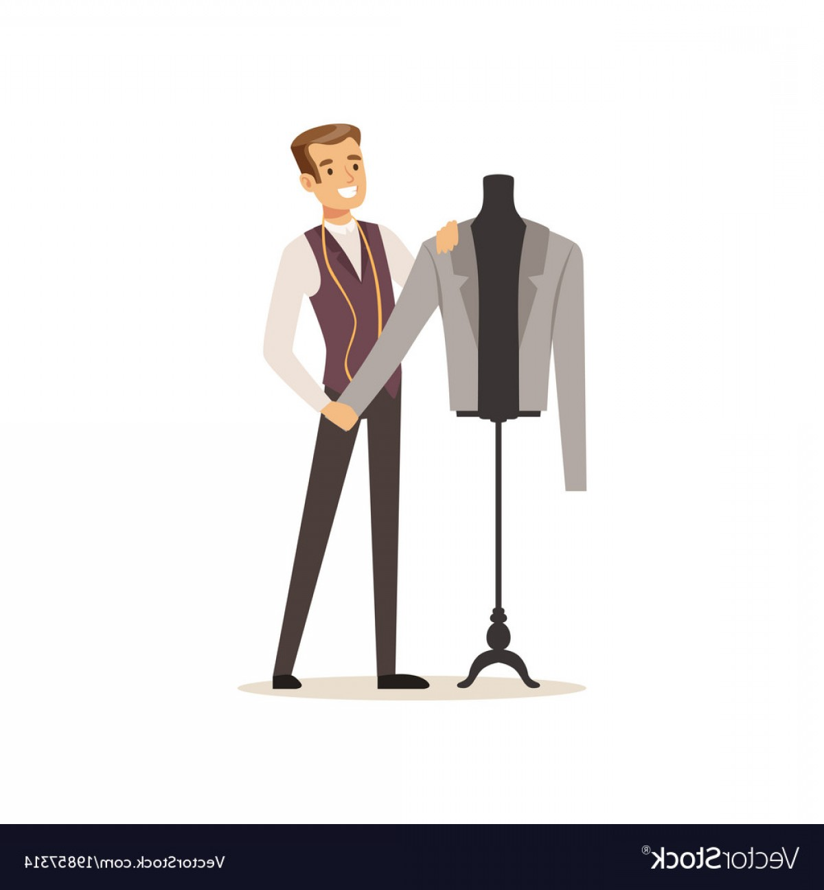 AT-AT Vector: Male Clothing Designer Or Tailor Working At Vector