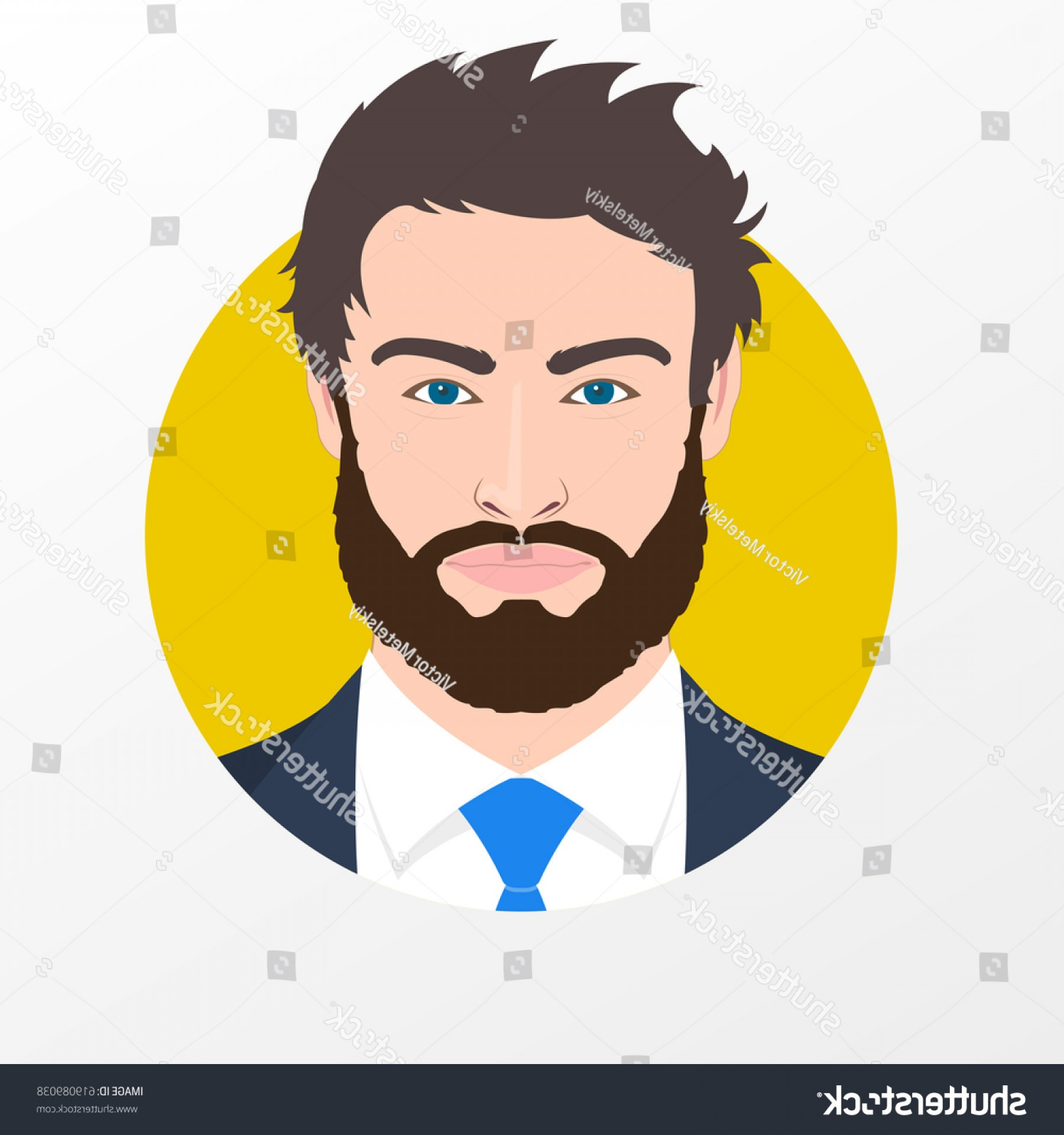 Male Face Icon Vector: Male Face Avatar Man Beard Suit