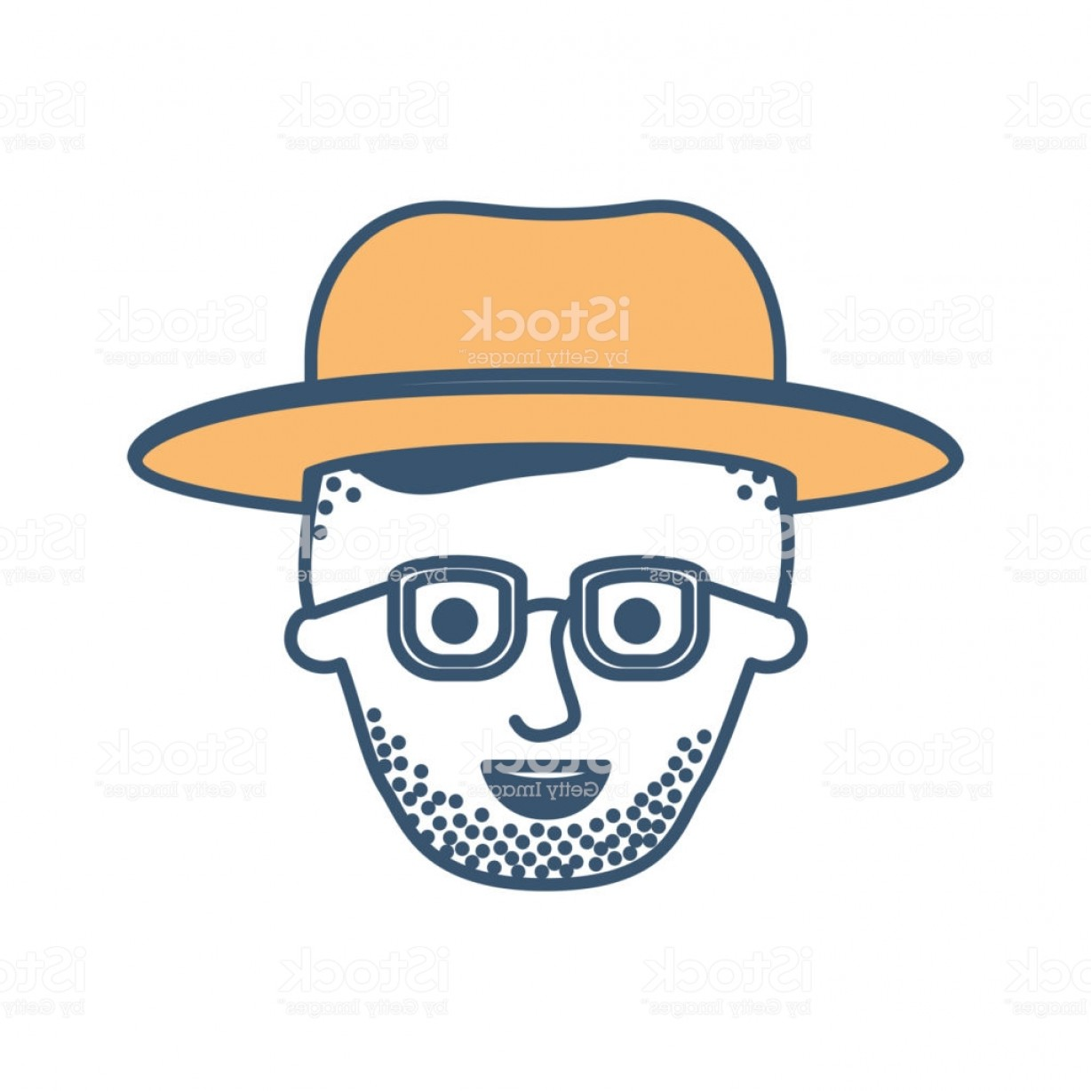 Vector Male Fade Hair: Male Face With Hat And Glasses And High Fade Haircut And Stubble Beard In Color Gm