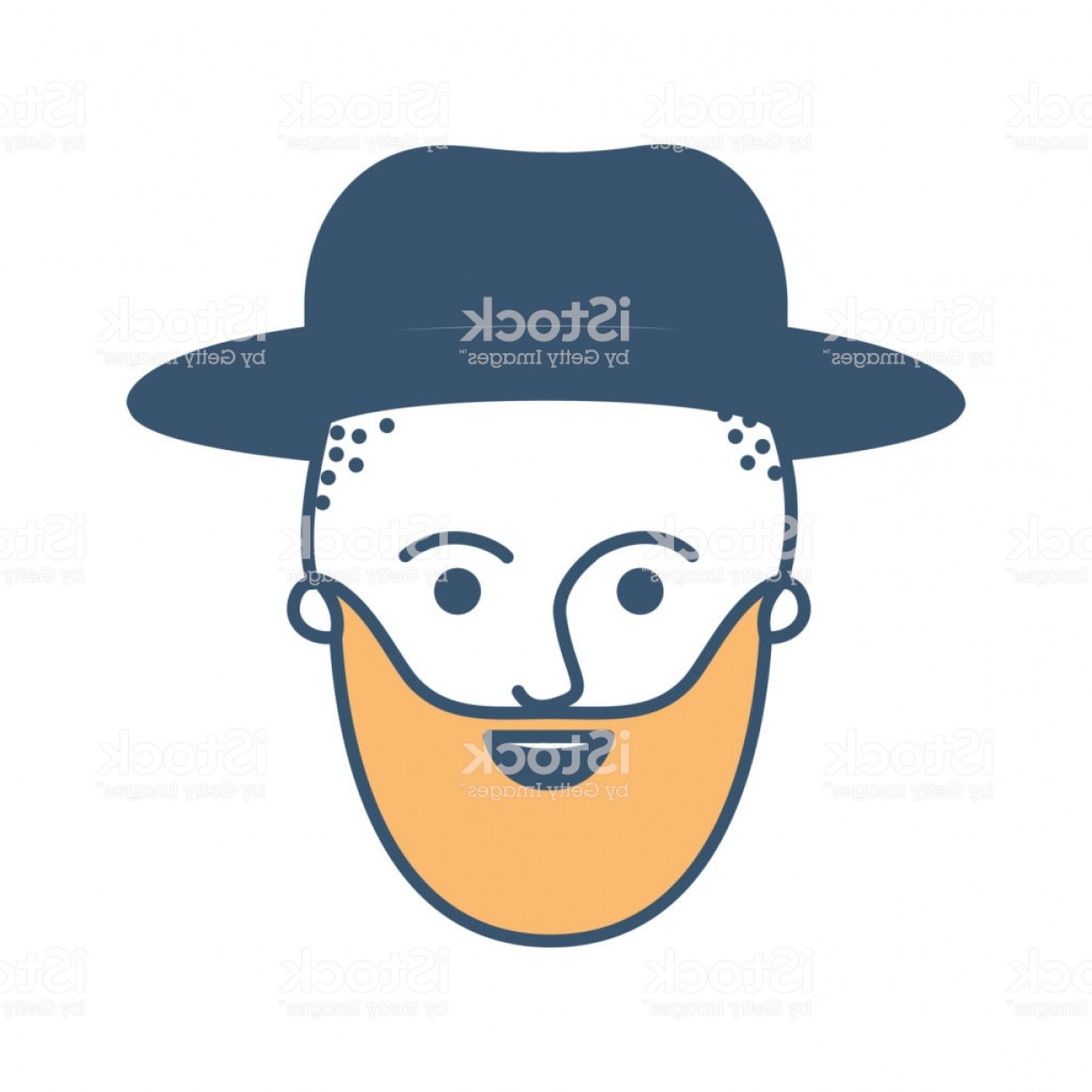 Vector Male Fade Hair: Male Face With Hat And Taper Fade Haircut And Beard In Color Sections Silhouette Gm
