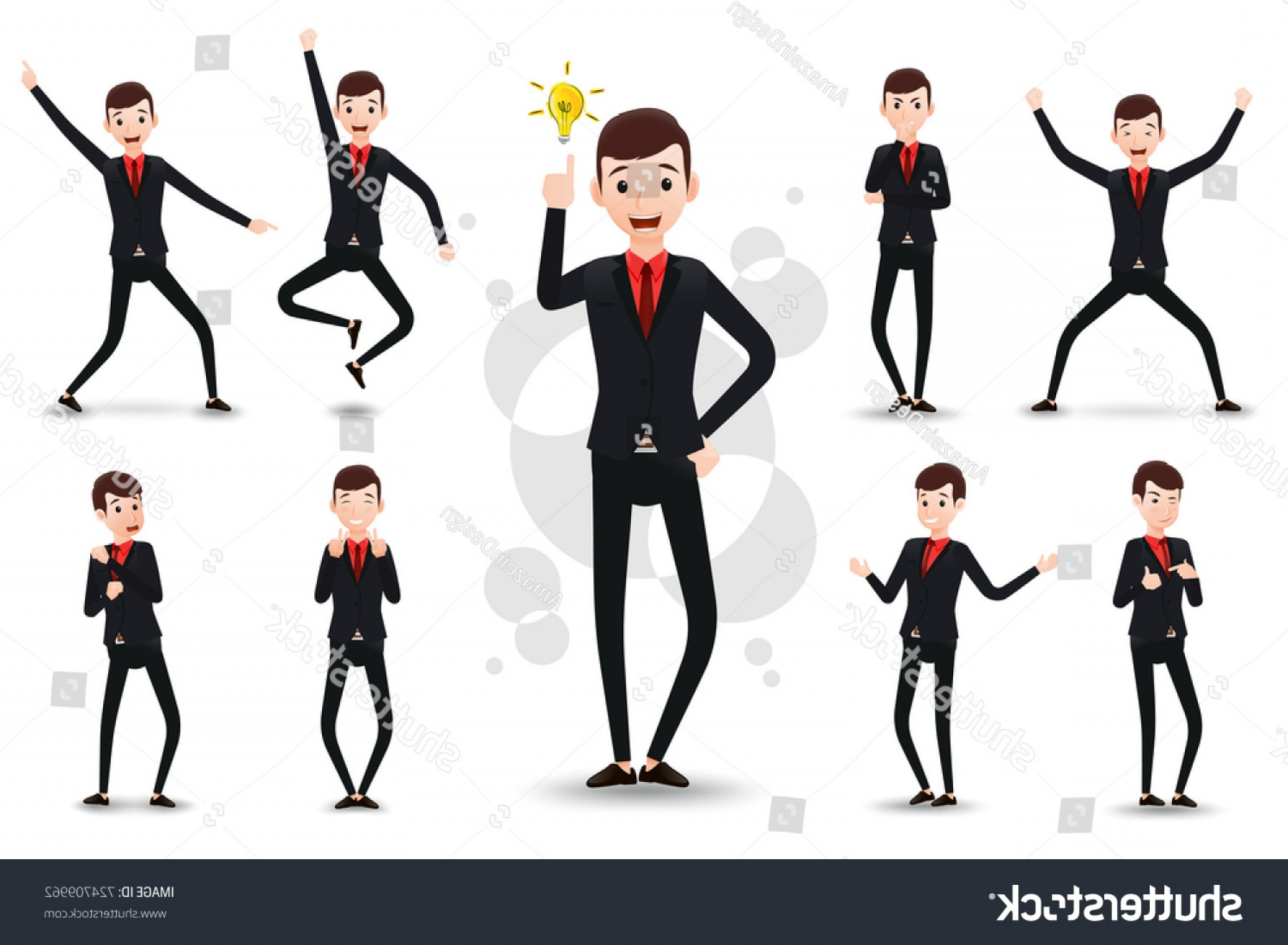Position Vector 2D: Male Funny Businessman D Character Ready