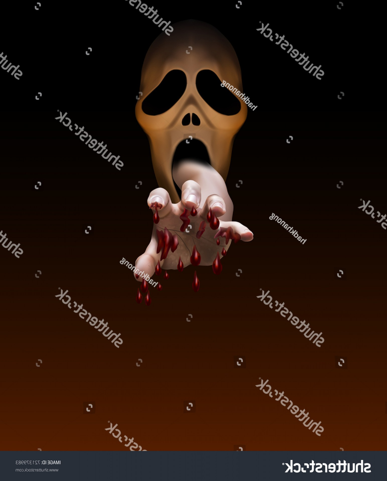 Headless Scary Halloween Skeletons Vectors: Male Handfull Blood Stretch Out Mouth