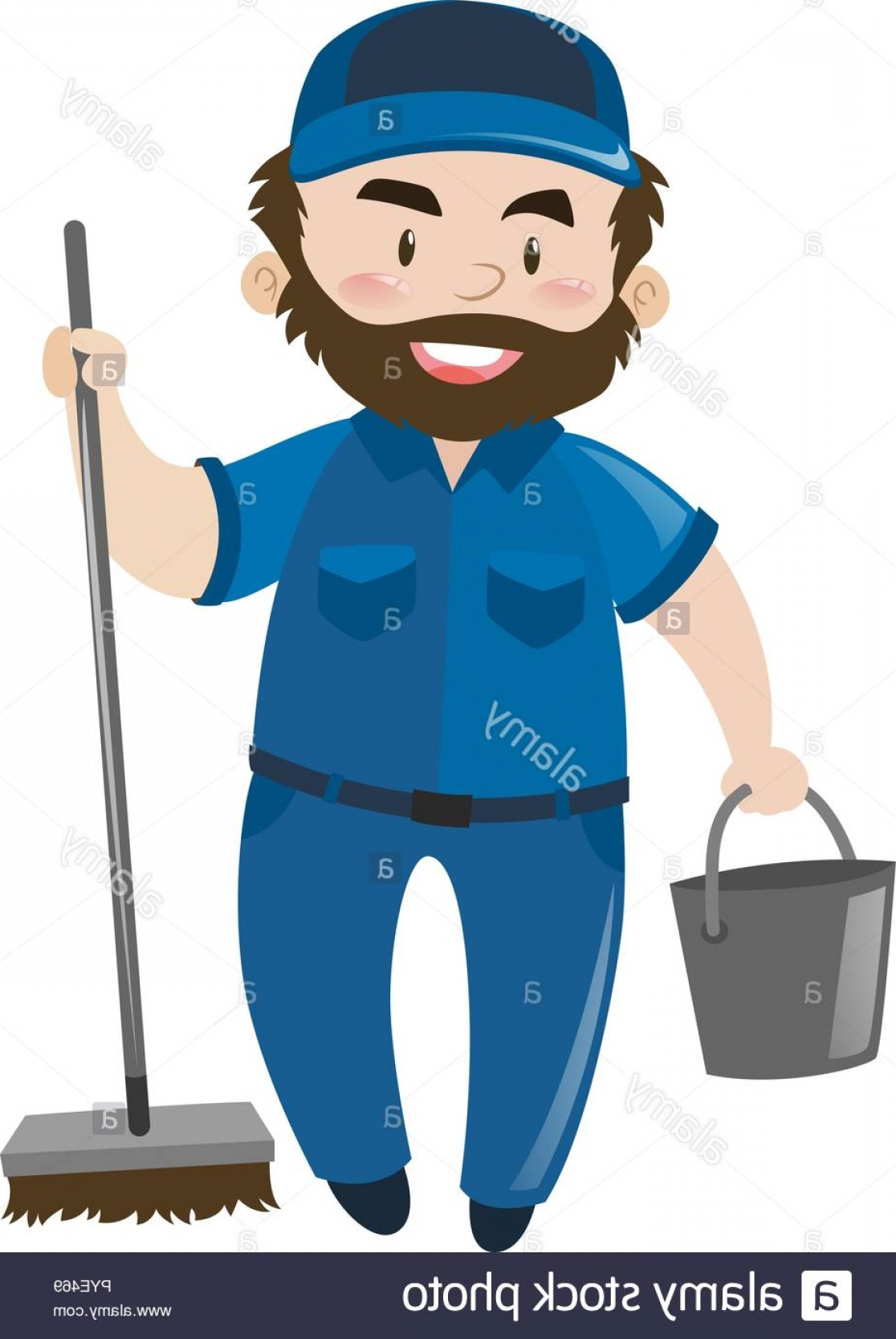 Janitorial Vector: Male Janitor In Blue Uniform Illustration Image