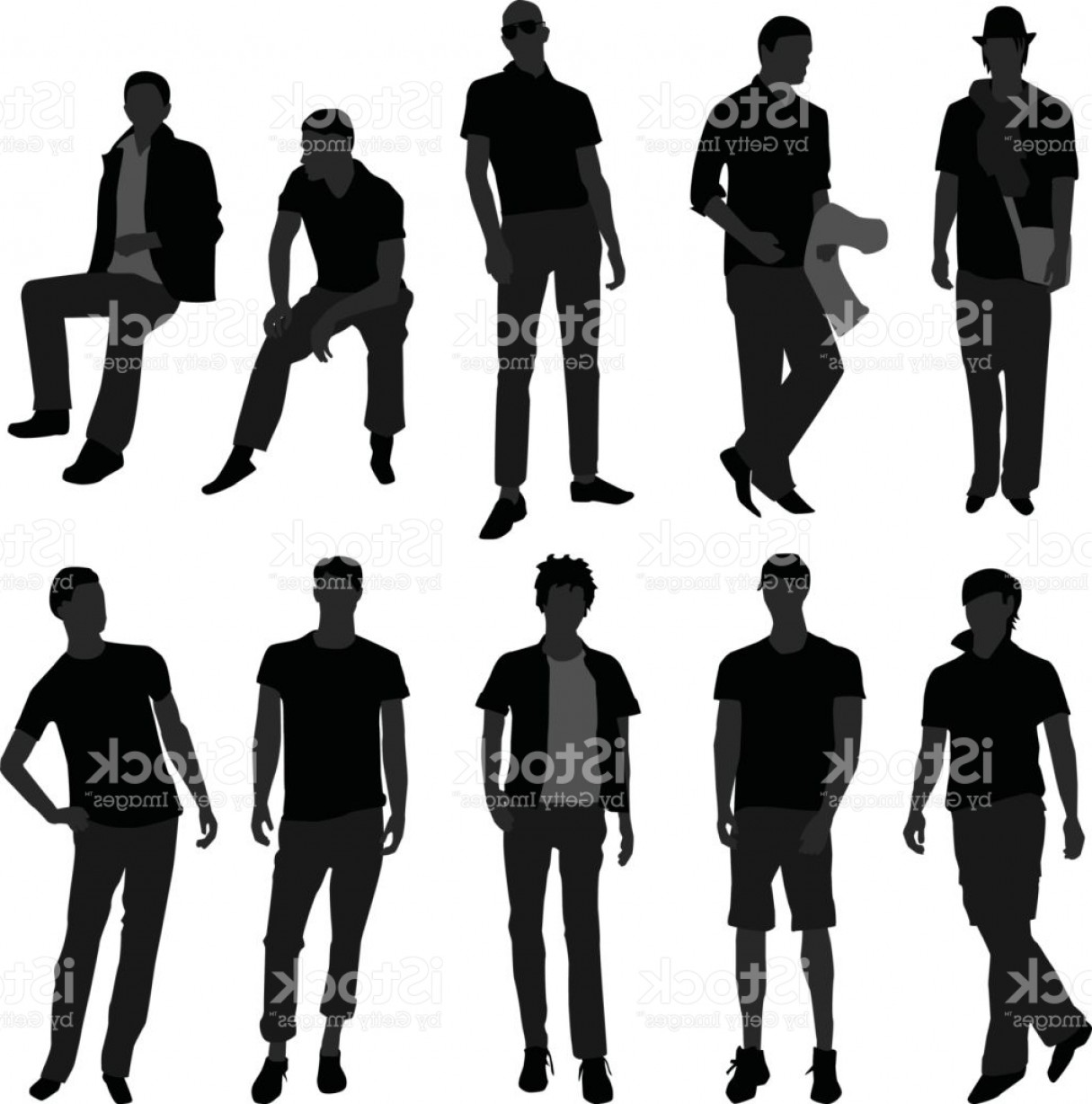 Male Silhouette Vector Art: Male Model Posing For Fashions In Silhouette Vector Gm