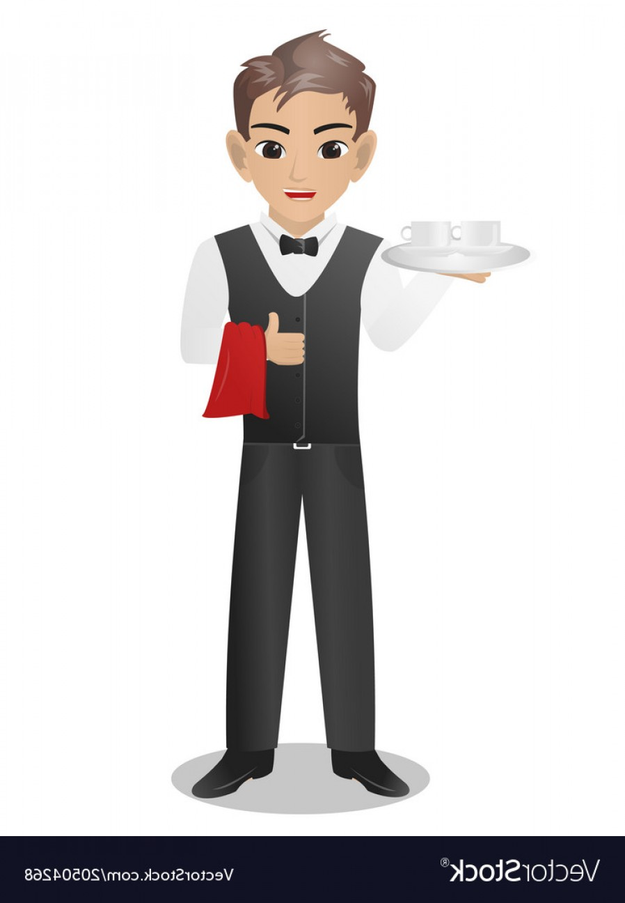 Vector Waiter Coffee: Male Waiter Serving Cup And Coffee Vector