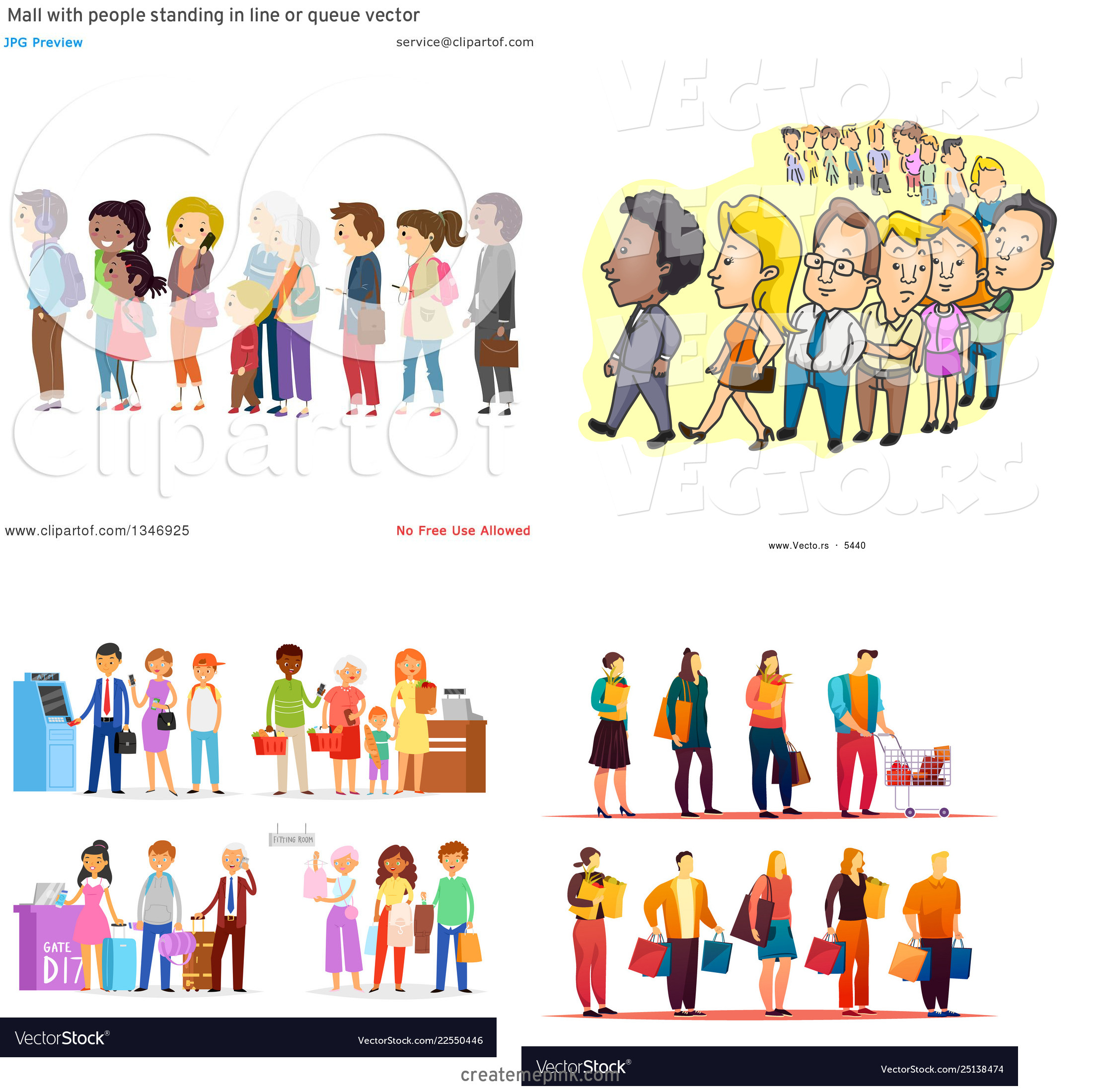 People In Line Clip Art Vector: Mall With People Standing In Line Or Queue Vector