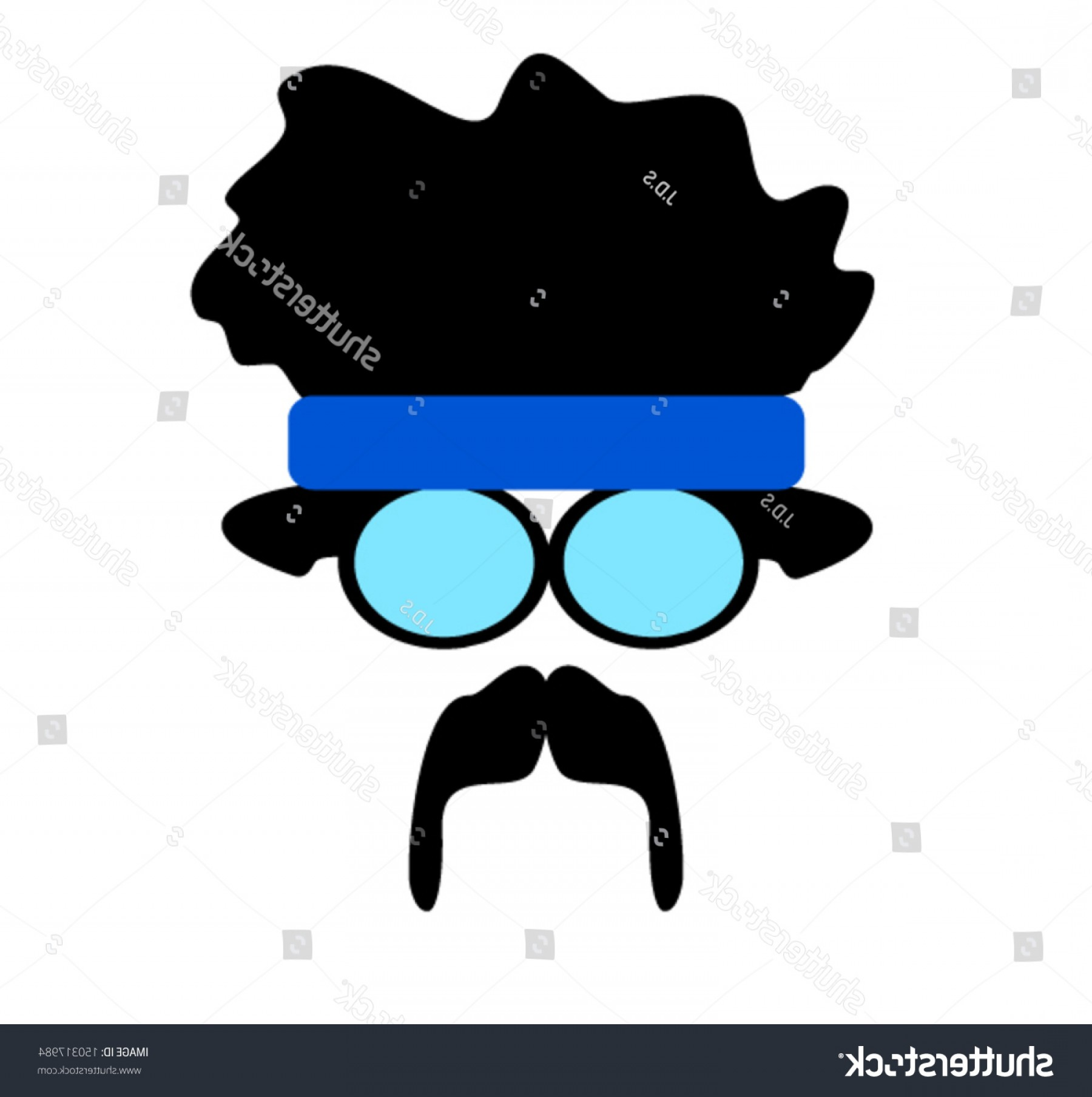 Reading Glasses For Men Vector: Man Afro Headband Wearing Large Reading