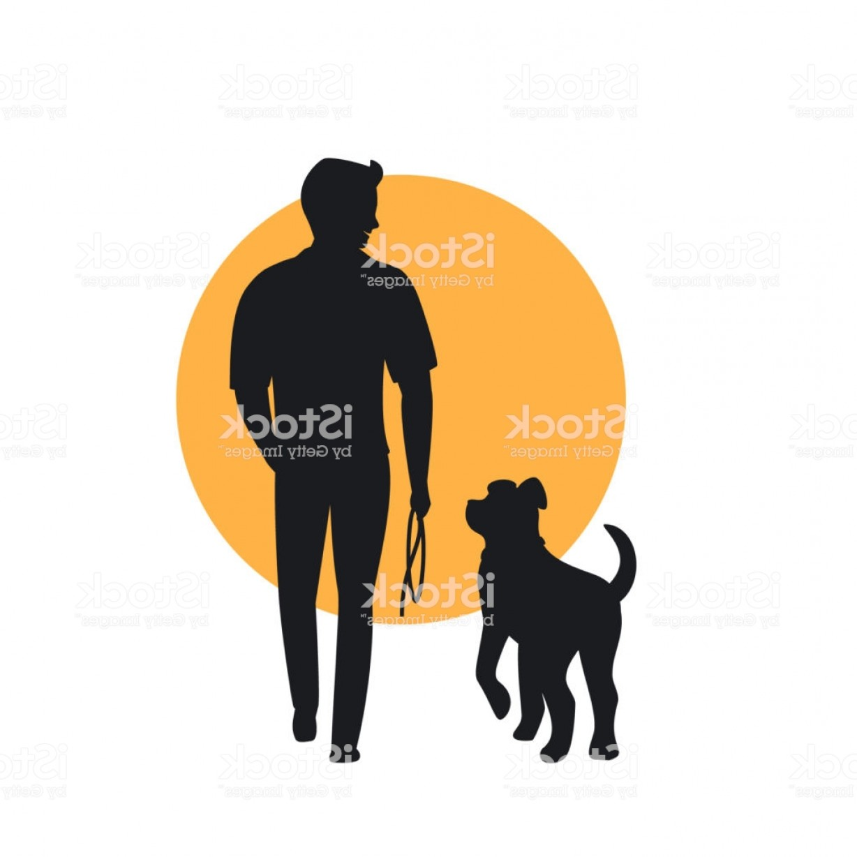Vector Silhouette Dog Walk: Man And Dog Walking Back View Silhouette Gm
