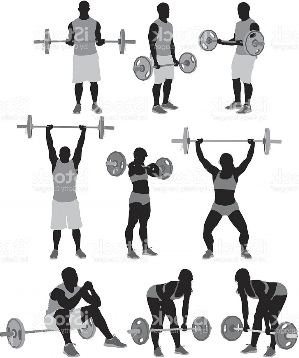 Weightlifter Vector Art: Man And Woman Weightlifting Gm