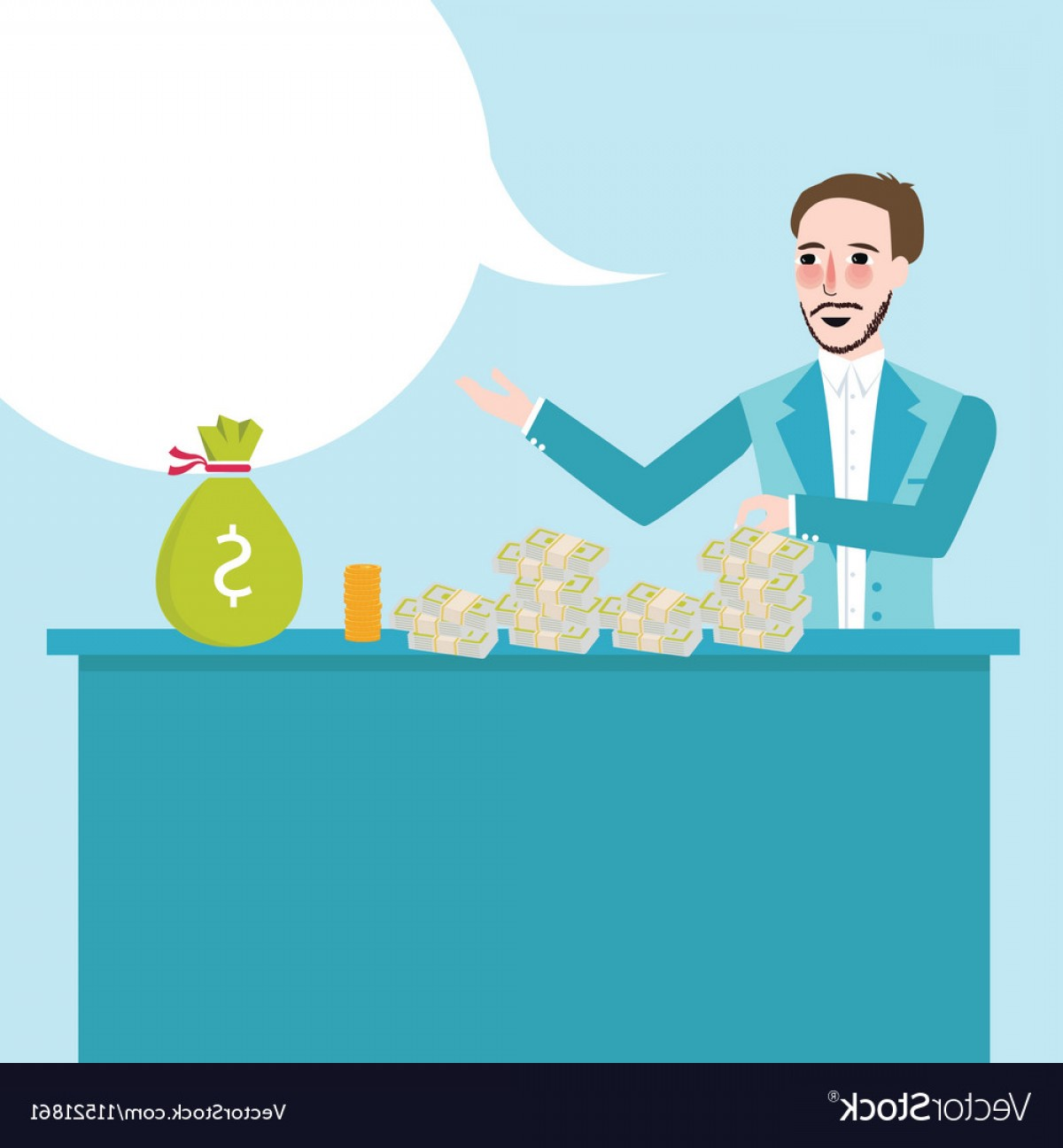 Talk Show Vector: Man Behind Counter Talk Show About Money Cash On Vector