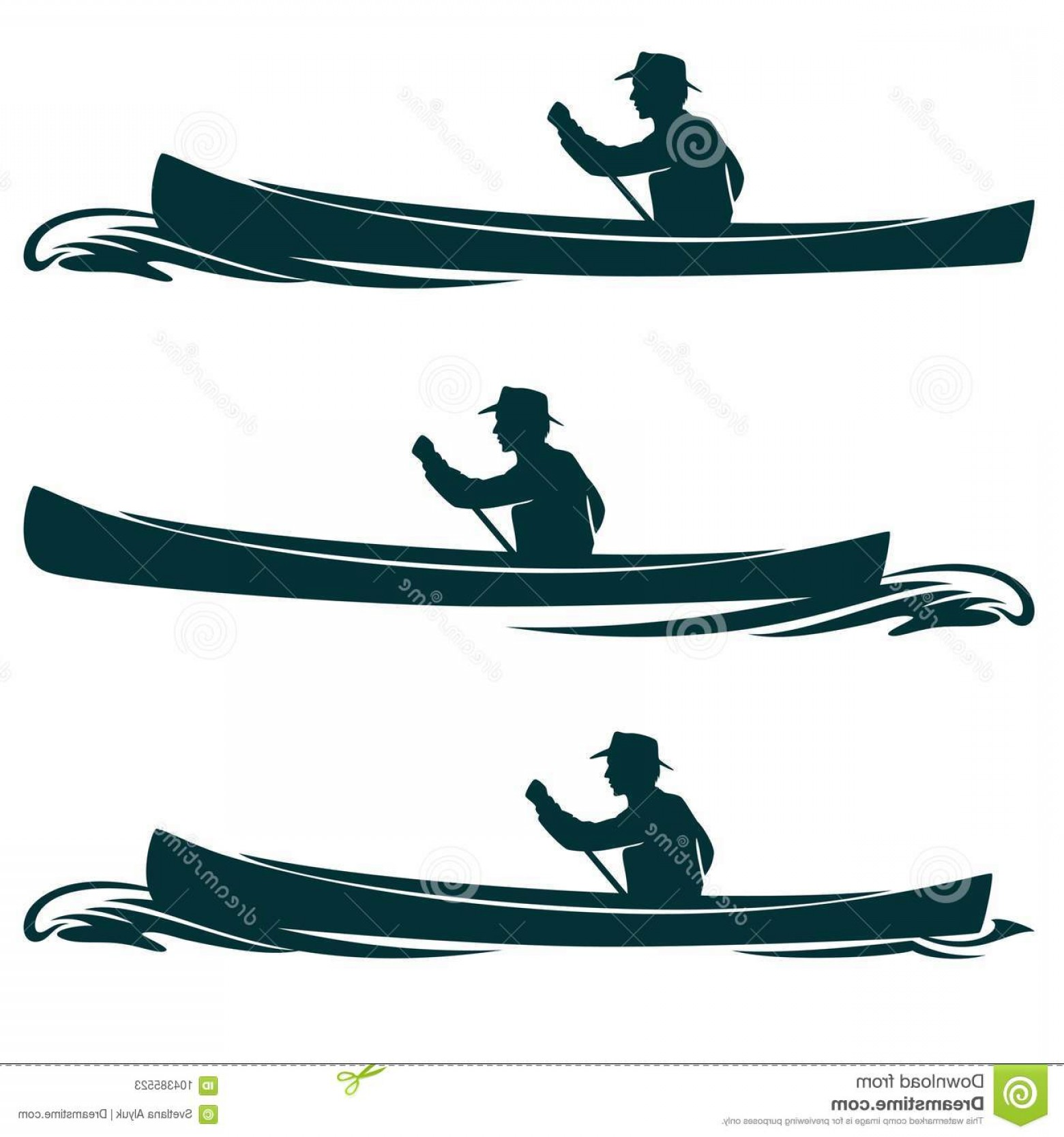 Canoe Vector: Man Canoe Boat Side View Vector Design Rowing Set Image