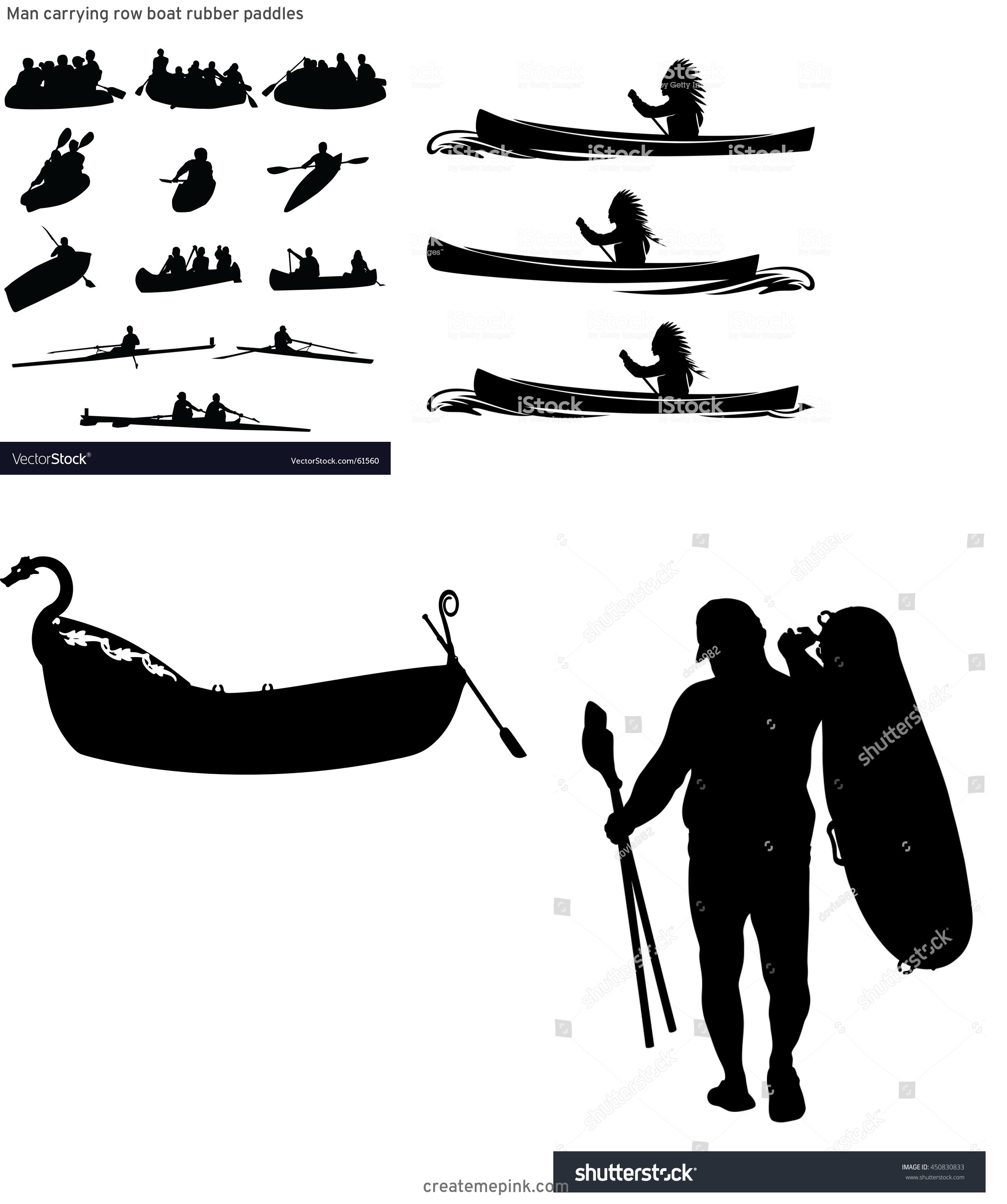 Row Boat Vector Sillohettes: Man Carrying Row Boat Rubber Paddles