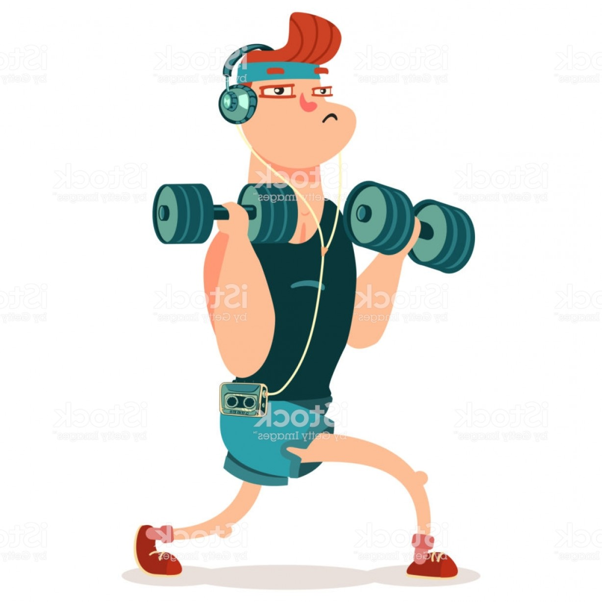 Man Vector Exercise: Man Doing Fitness Exercises With Dumbbells Cute Guy Cartoon Vector Character Gm