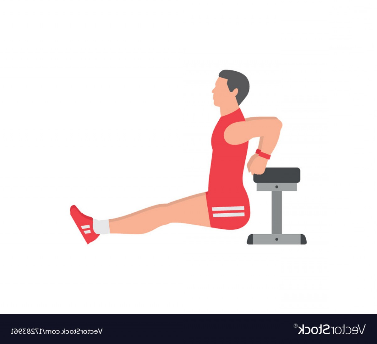Man Vector Exercise: Man Doing Triceps Dip Exercise On Bench Vector