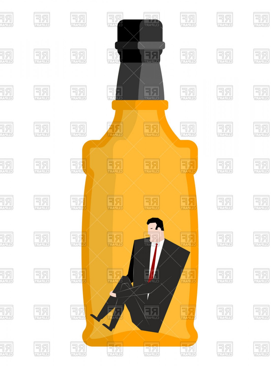Alcohol Vector: Man Drinker Inside Bottles Businessman Sitting In An Empty Bottle Of Alcohol Vector Clipart