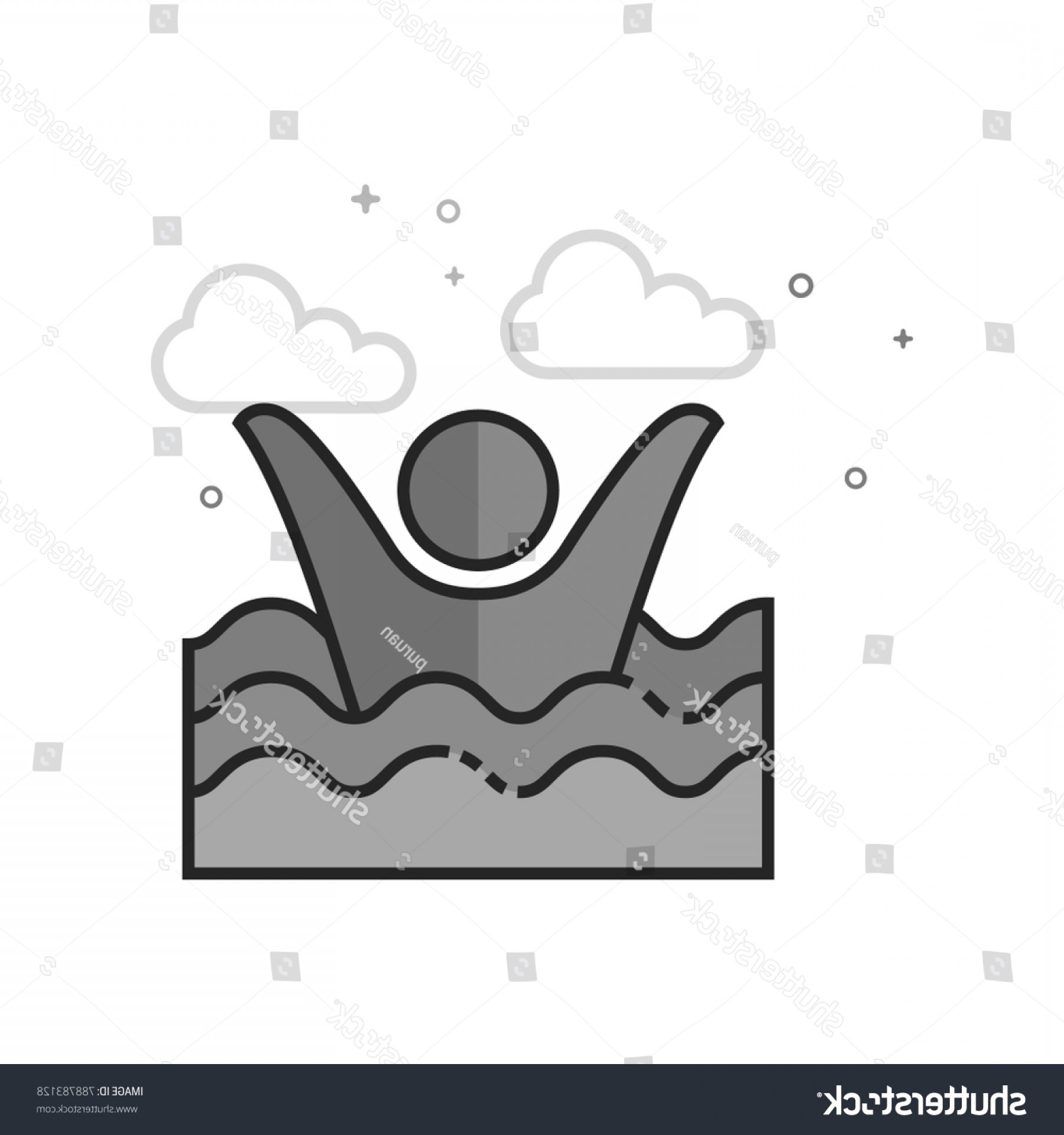 Man Drowning Vector: Man Drowning Icon Flat Outlined Grayscale