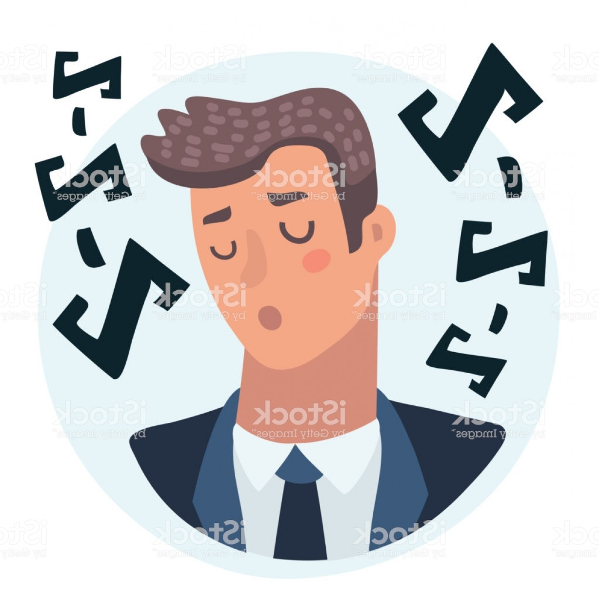 Male Eyes Vector Graphic: Man Face Emotive Icon Male Character Resting With Closed Eyes Gm