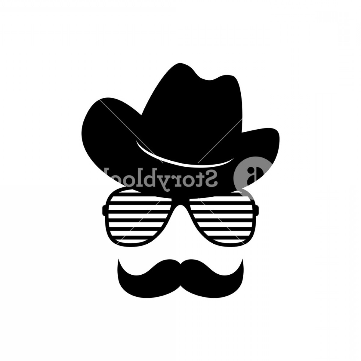 Mustache Face Vector: Man Face With Glasses Mustache And Cowboy Hat Photo Props Cowboy Vector Illustration Rdlohdvtlmjdifkfyt