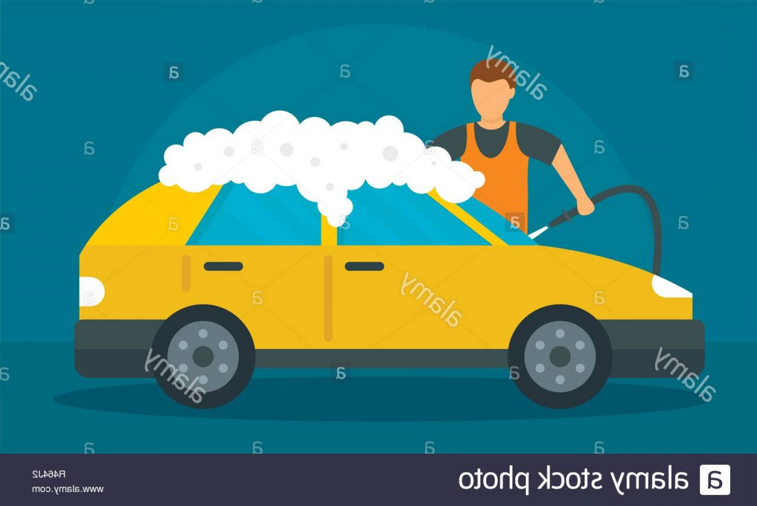 Car Wash Vector Graphics: Man Foam Car Wash Concept Background Flat Illustration Of Man Foam Car Wash Vector Concept Background For Web Design Image