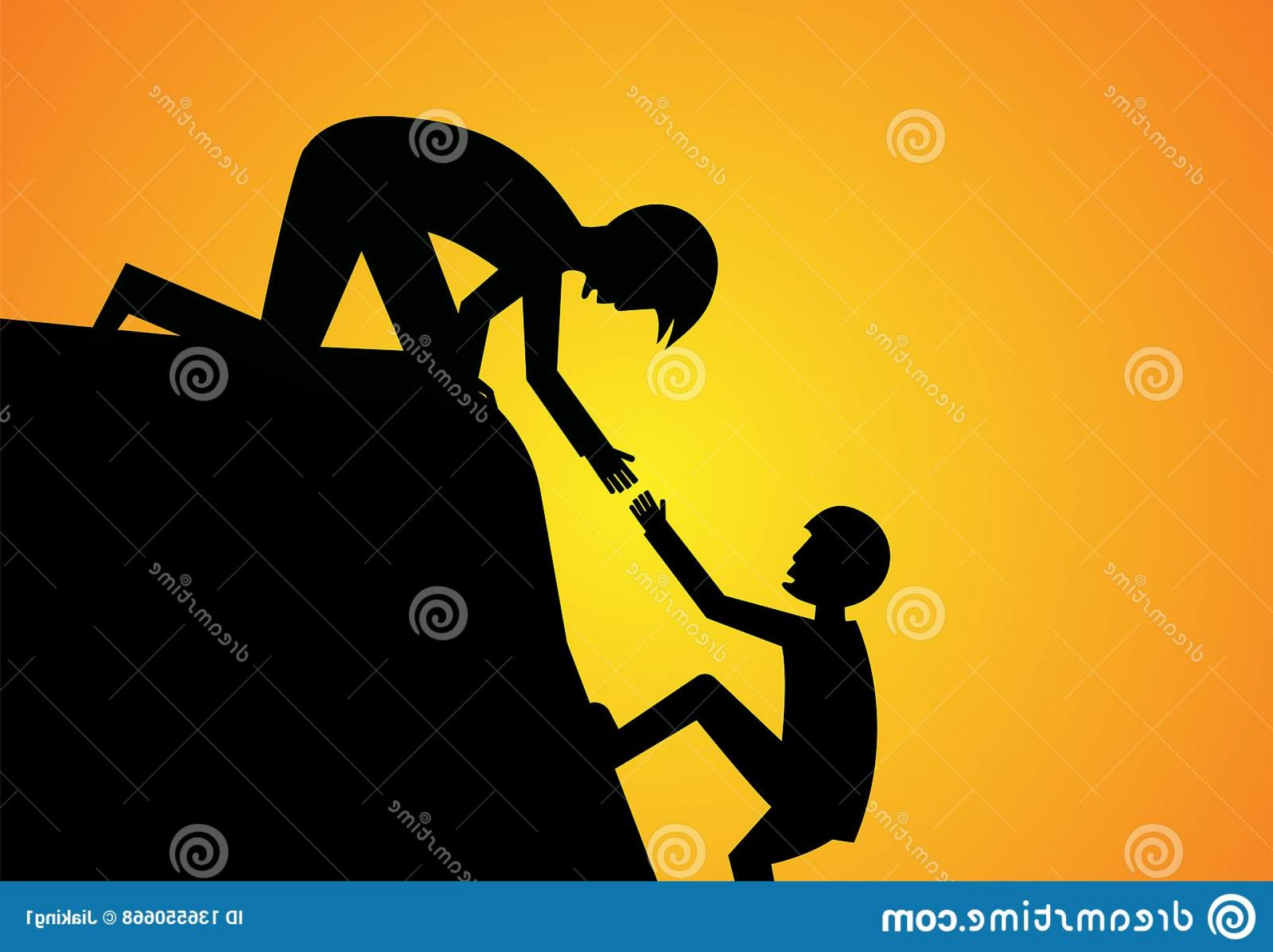 Climbing Silhouette Vector Art: Man Help His Friend To Climb Up Silhouette Vector Art Image