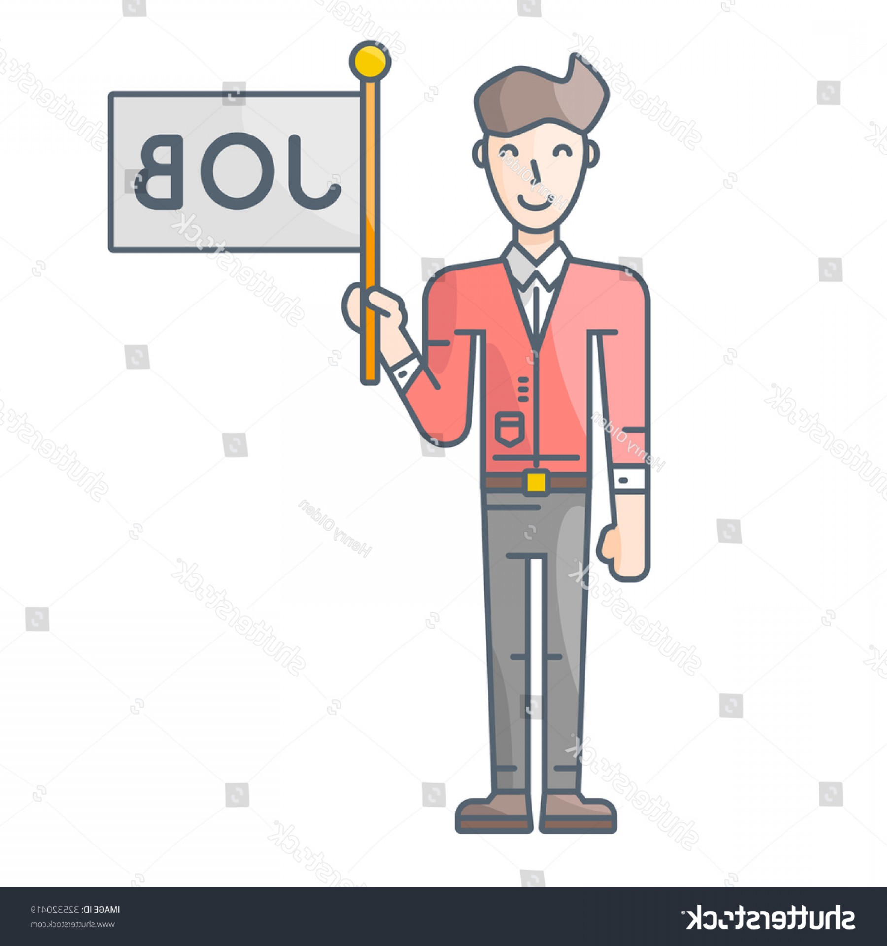 Vector Job Offer: Man Holding Flag Job Offer Vector