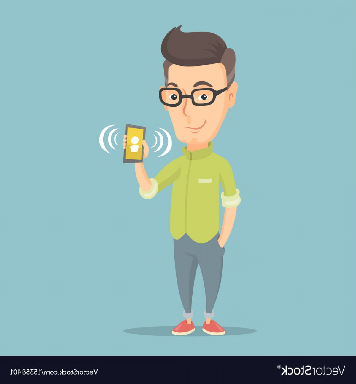 Vector Person Holding: Man Holding Ringing Mobile Phone Vector