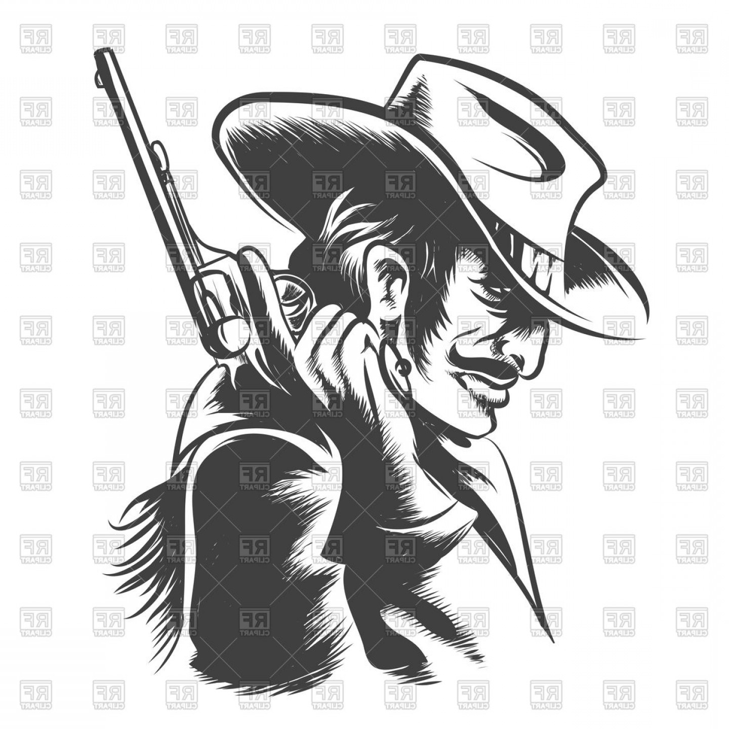 Cowboys Line Drawings Vector: Man In Cowboy Clothes With Revolver Vector Clipart
