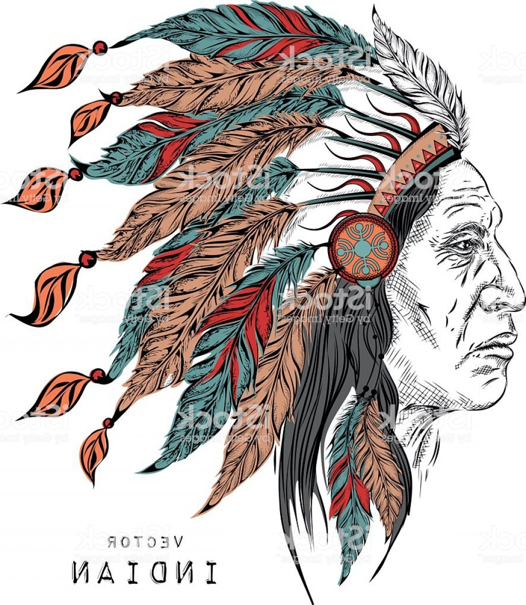 American Indian Chief Vector: Man In The Native American Indian Chief Vector Illustration Gm