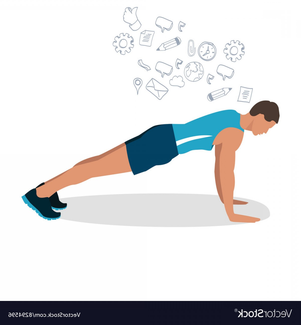 Man Vector Exercise: Man Male Push Up Gym Workout Exercise Vector