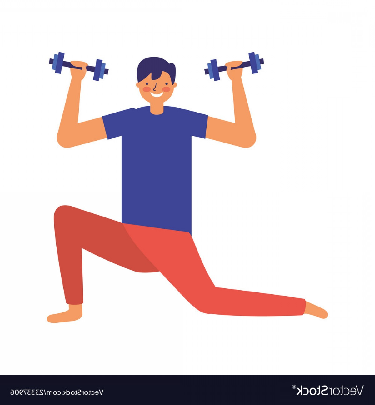Man Vector Exercise: Man Practicing Exercise With Dumbbells Vector