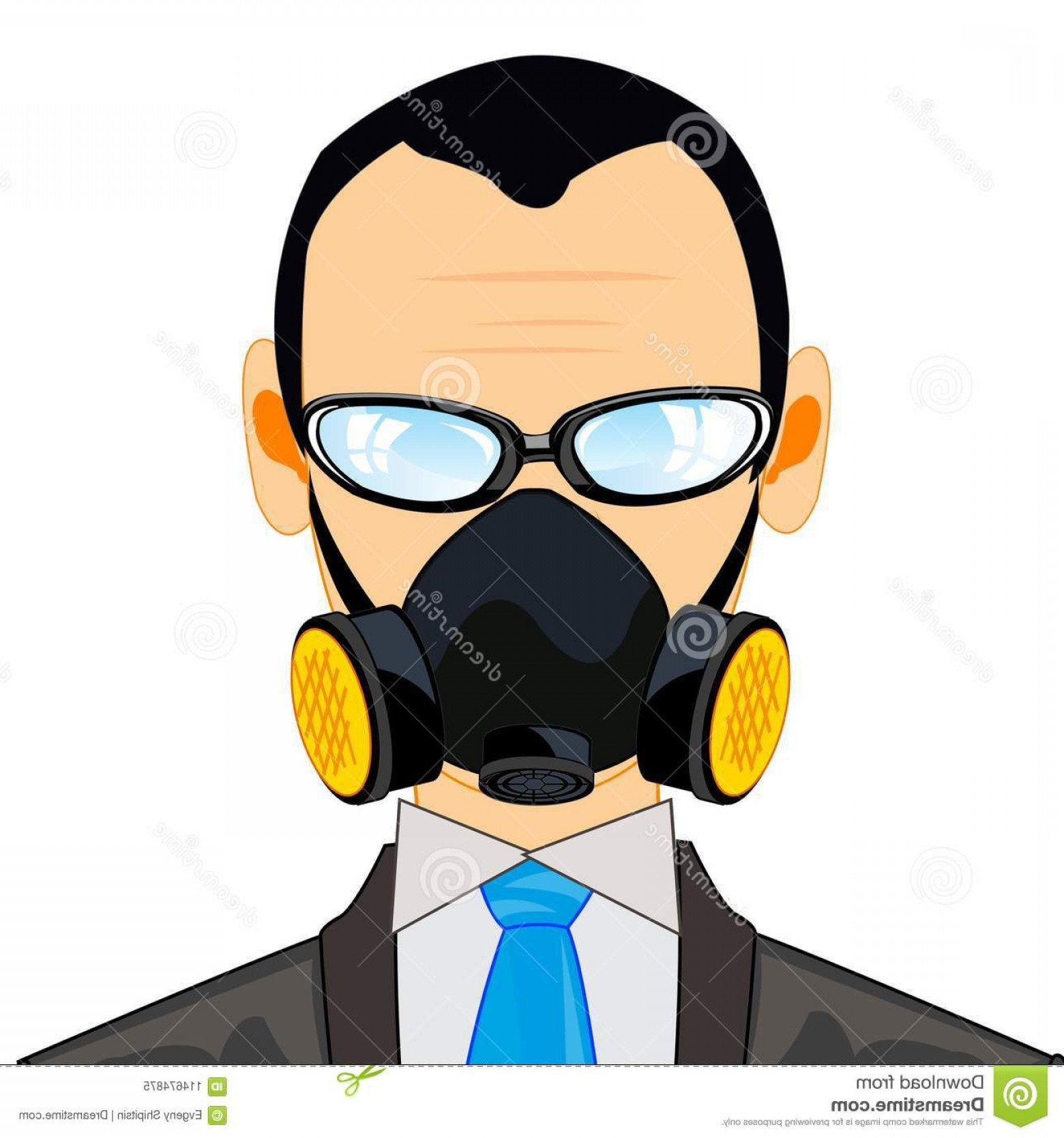 Gas Mask Suit And Tie Vector: Man Respirator Person Young Men Suit Image