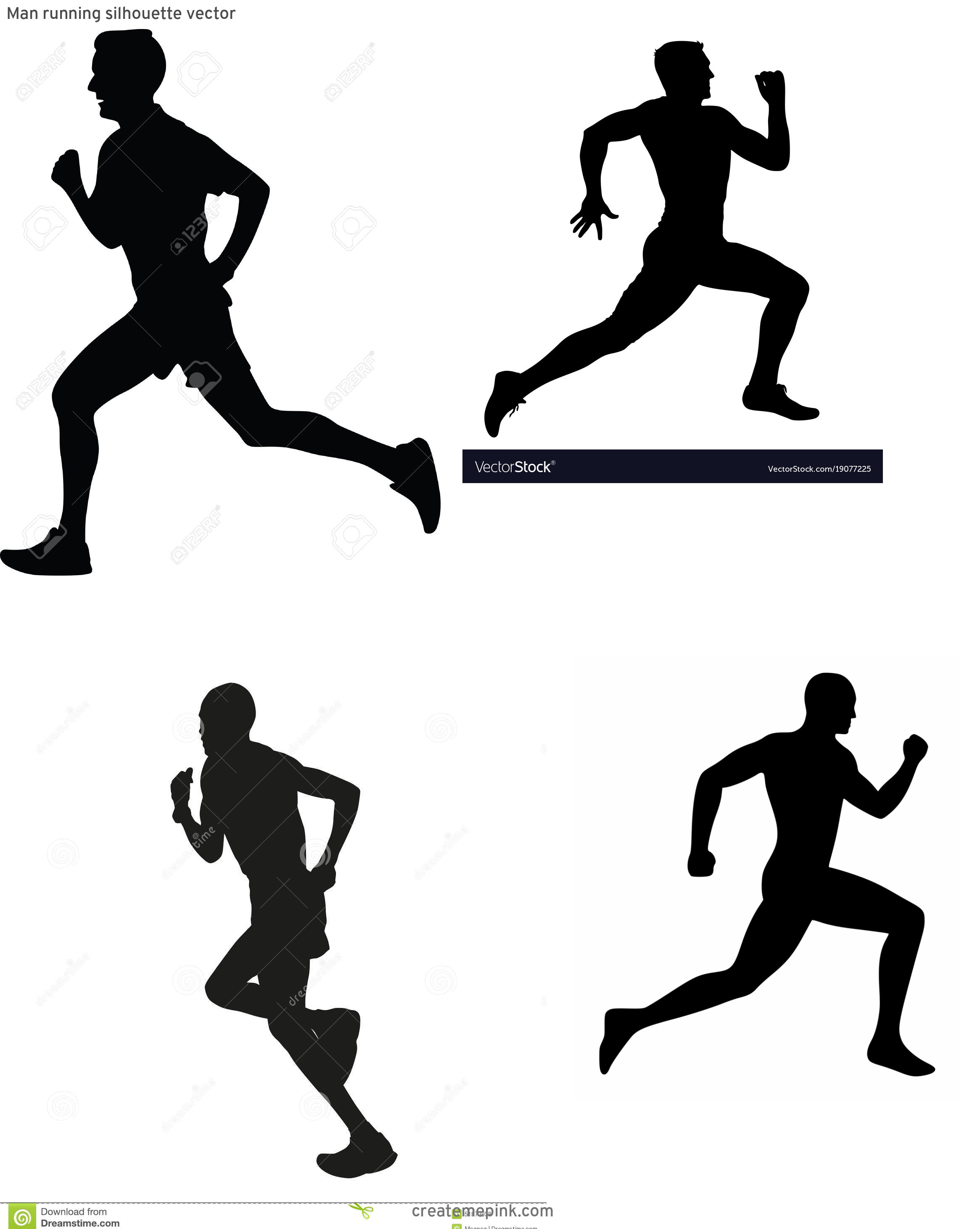 White Runner Silhouette Vector: Man Running Silhouette Vector
