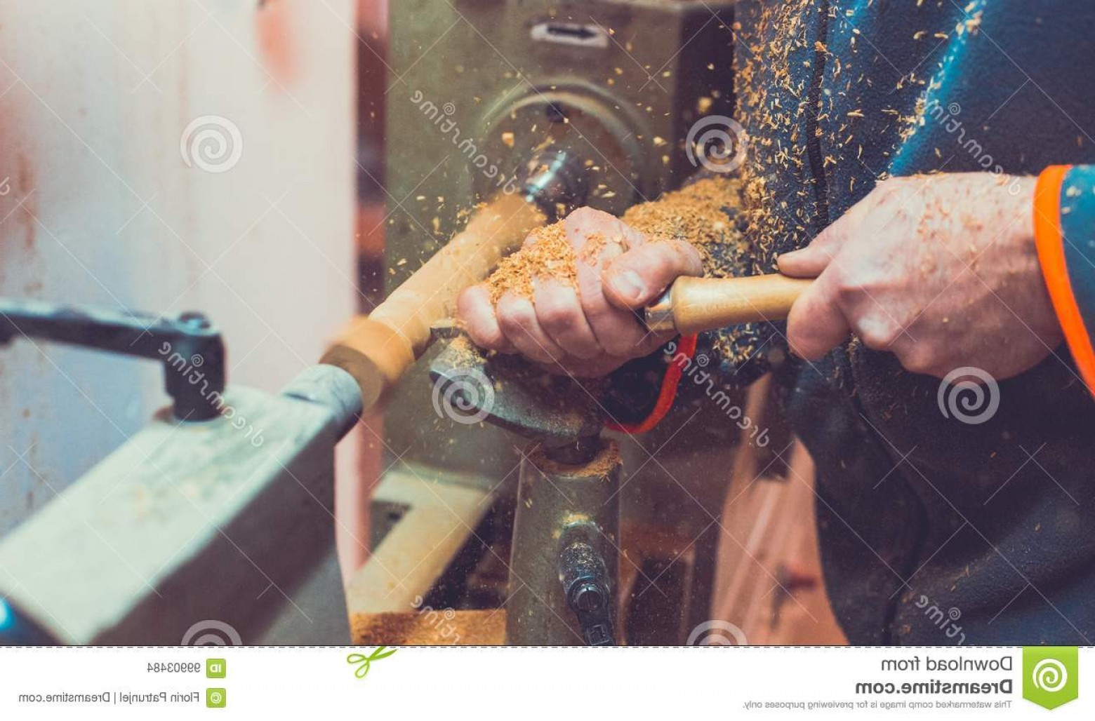 Hand Lathe Vector: Man S Hands Hold Chisel Near Lathe Man Working Small Wood Lathe Artisan Carves Piece Wood Using Manual Lathe Man S Image