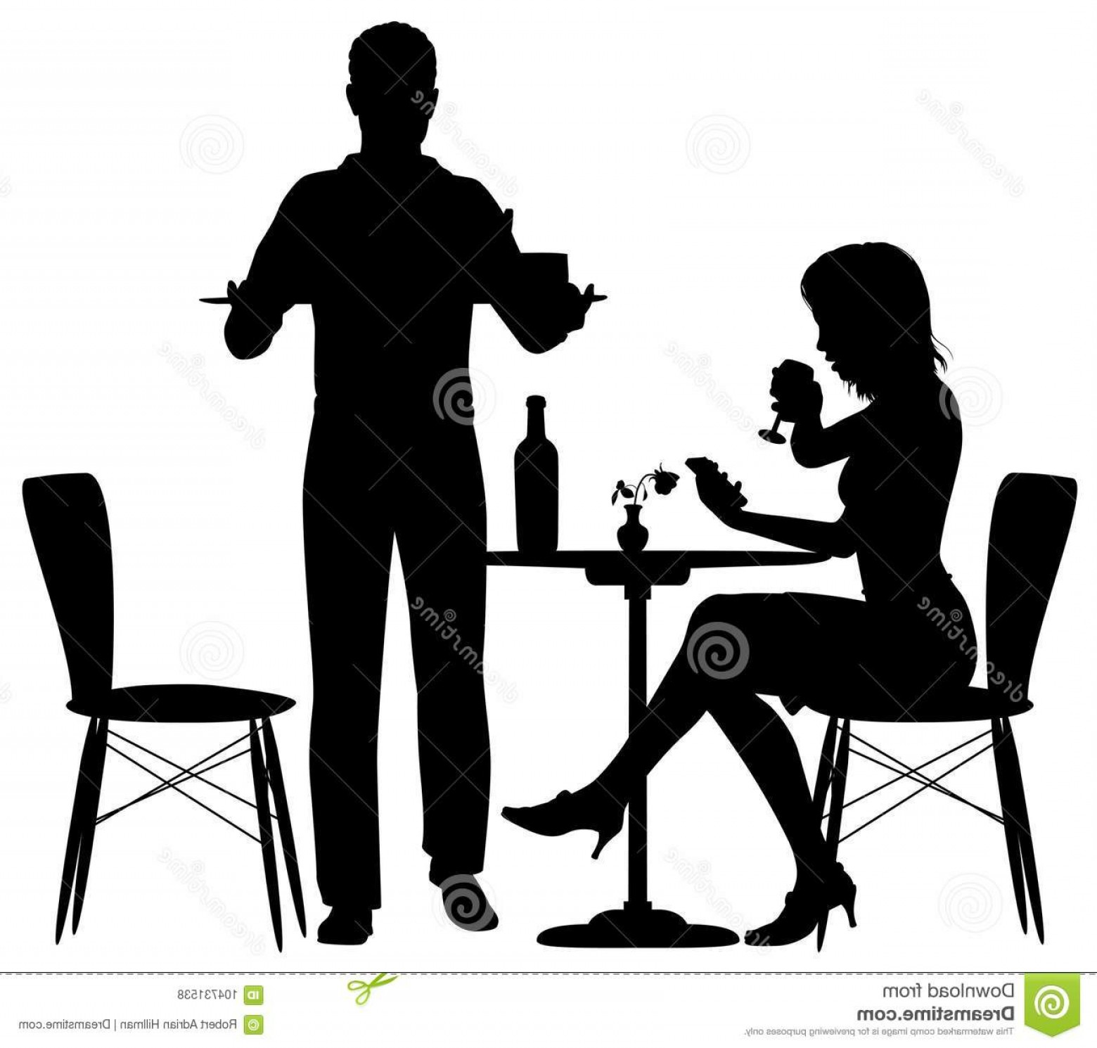 Serving Vector: Man Serving Meal Editable Vector Illustration Woman Being Served Food Man Who Could Be Waiter Her Partner Image