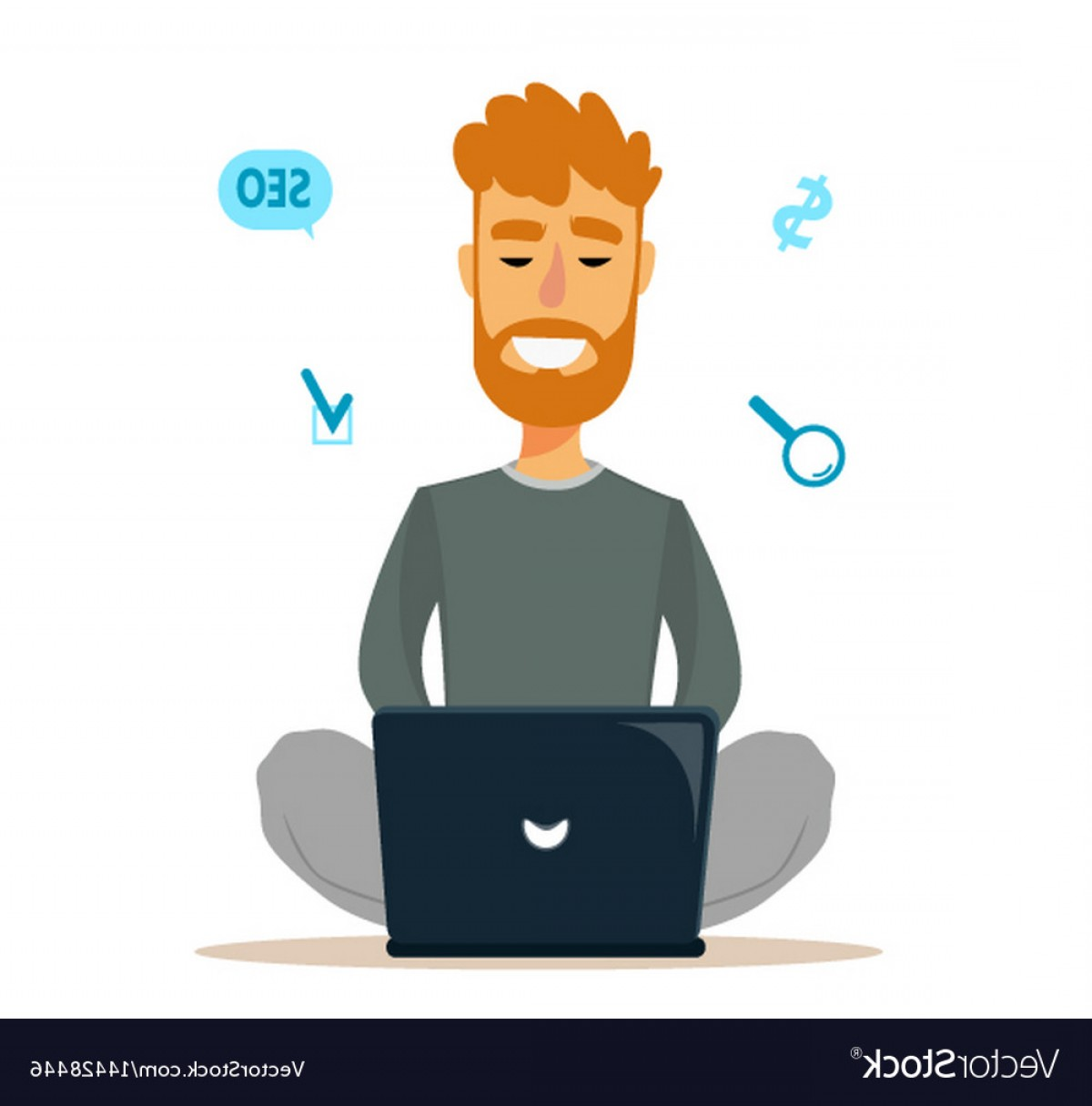 Vector Man Sitting On Floor: Man Sitting On The Floor And Working With Laptop Vector