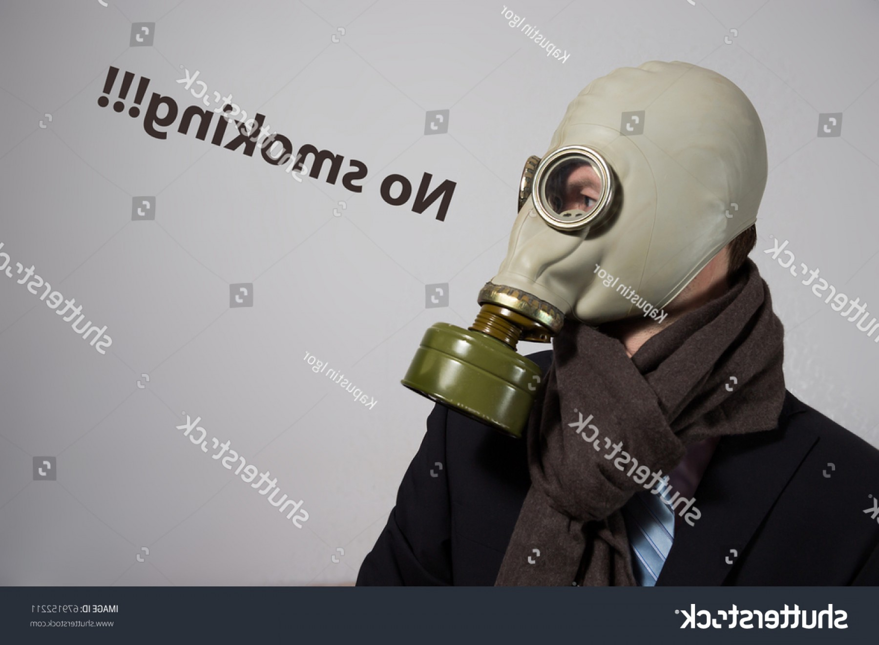 Gas Mask Suit And Tie Vector: Man Suit Tie Gas Mask No