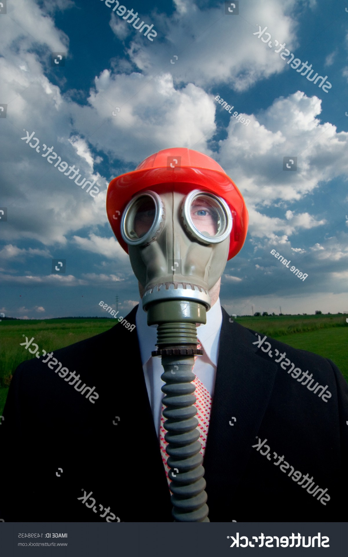 Gas Mask Suit And Tie Vector: Man Suit Tie Gas Mask Red