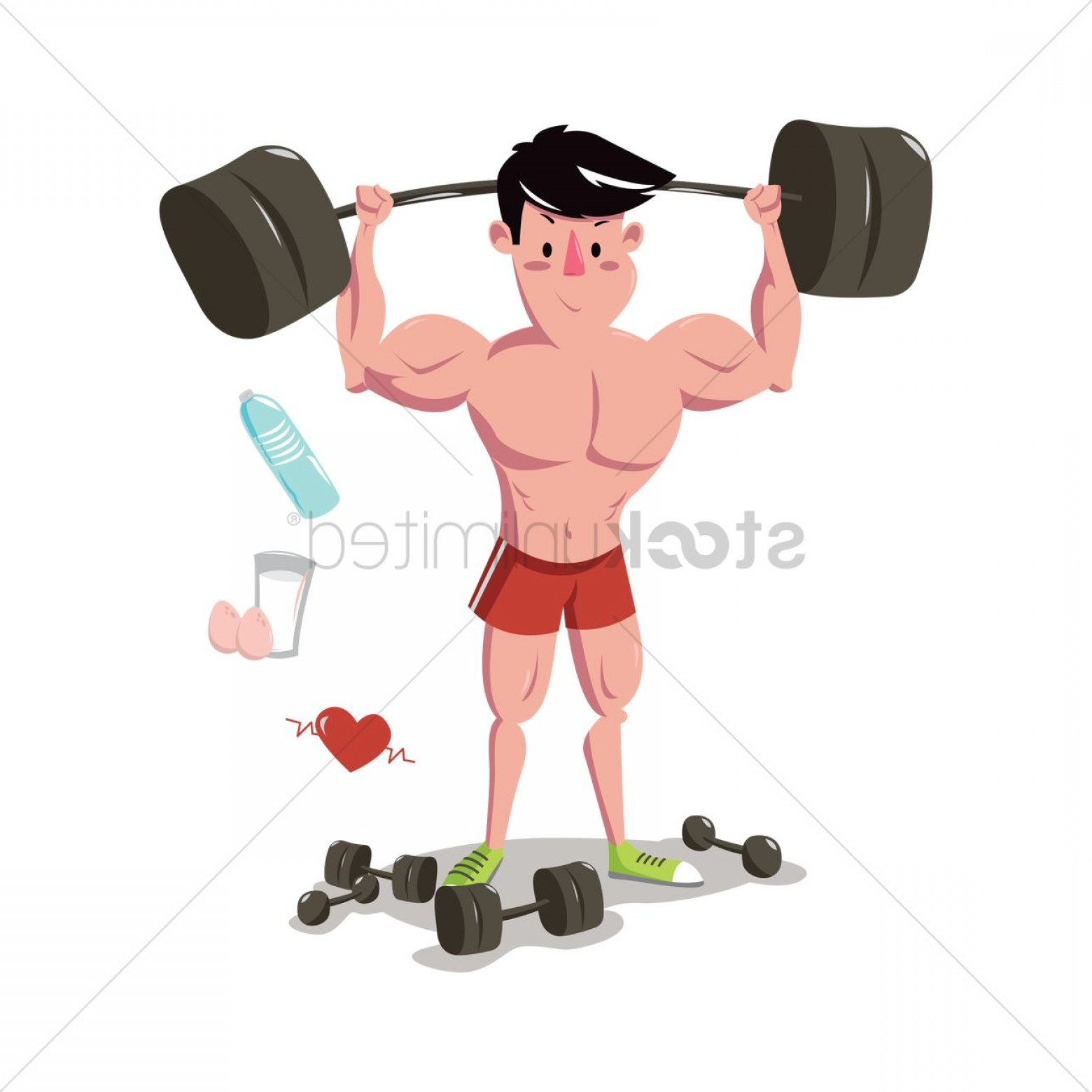 Weight Lifting Vector Graphics: Man Weight Lifting At The Gym
