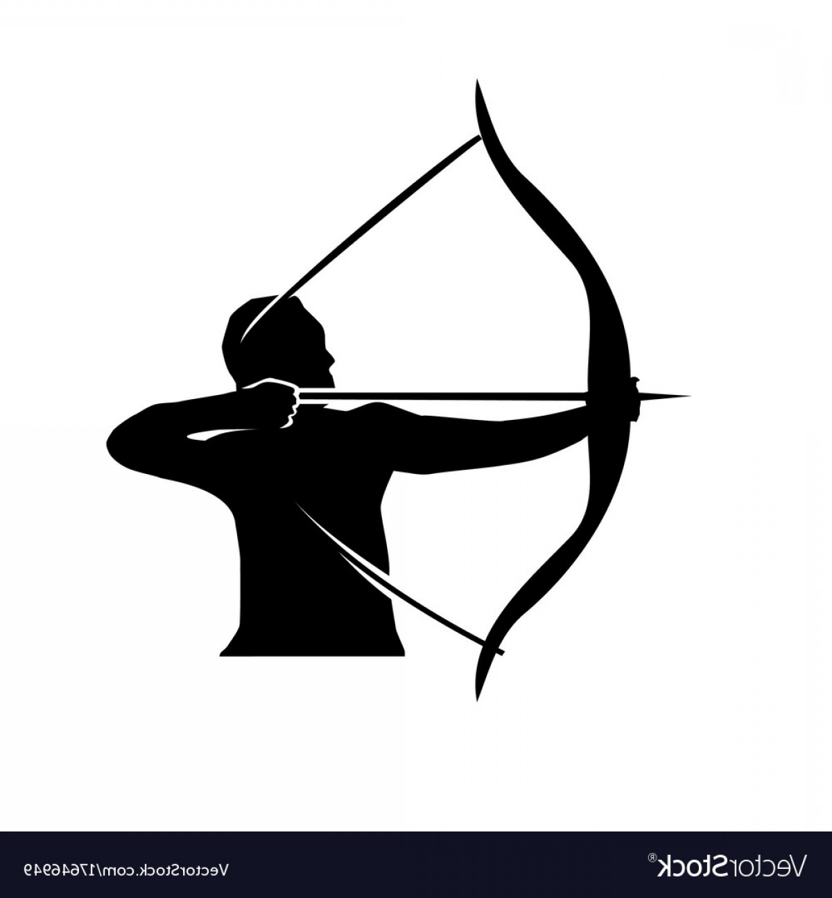 Vector Archery Silhouette: Man With Bow And Arrow Vector