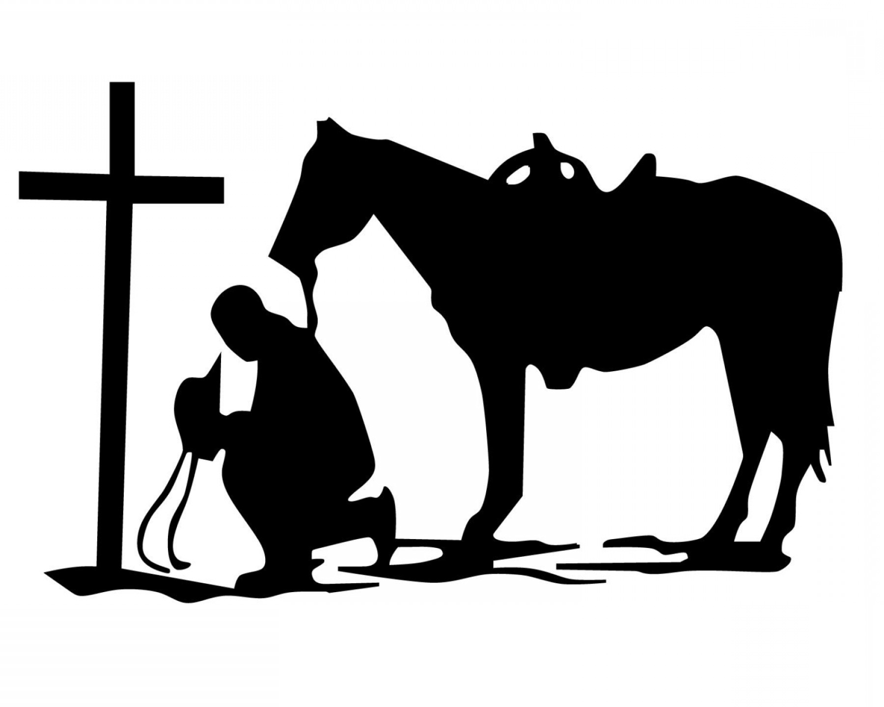 Praying Cowboy Vector: Man With Horse Praying Decal Praying