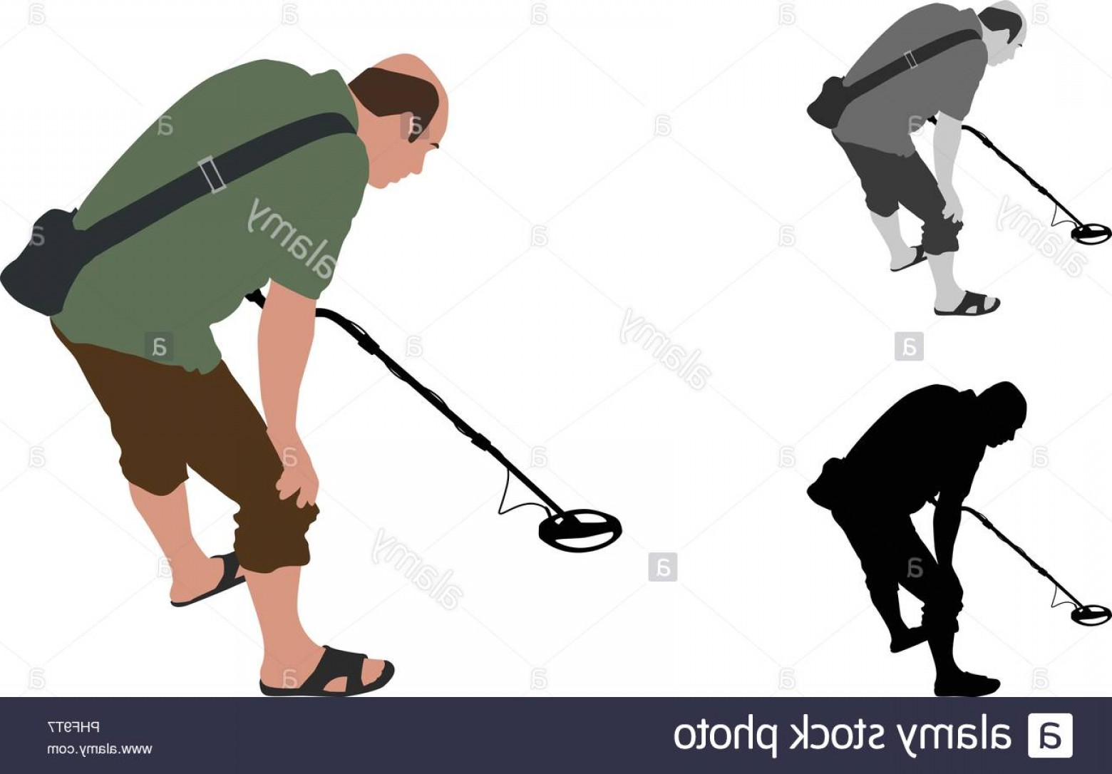 Vector Metal Detector: Man With Shorts And Slippers Using Metal Detector On Beach Image