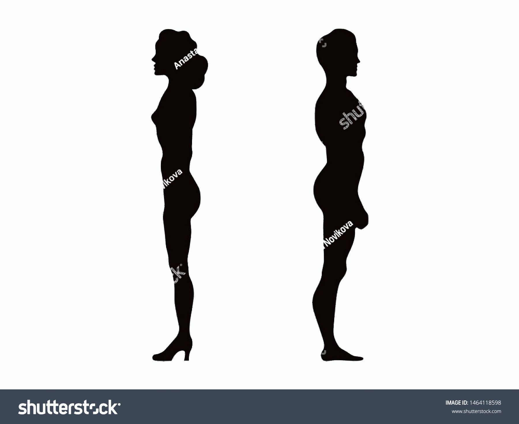 Woman Silhouette Vector Clip Art: Man Woman Silhouette Isolated On White