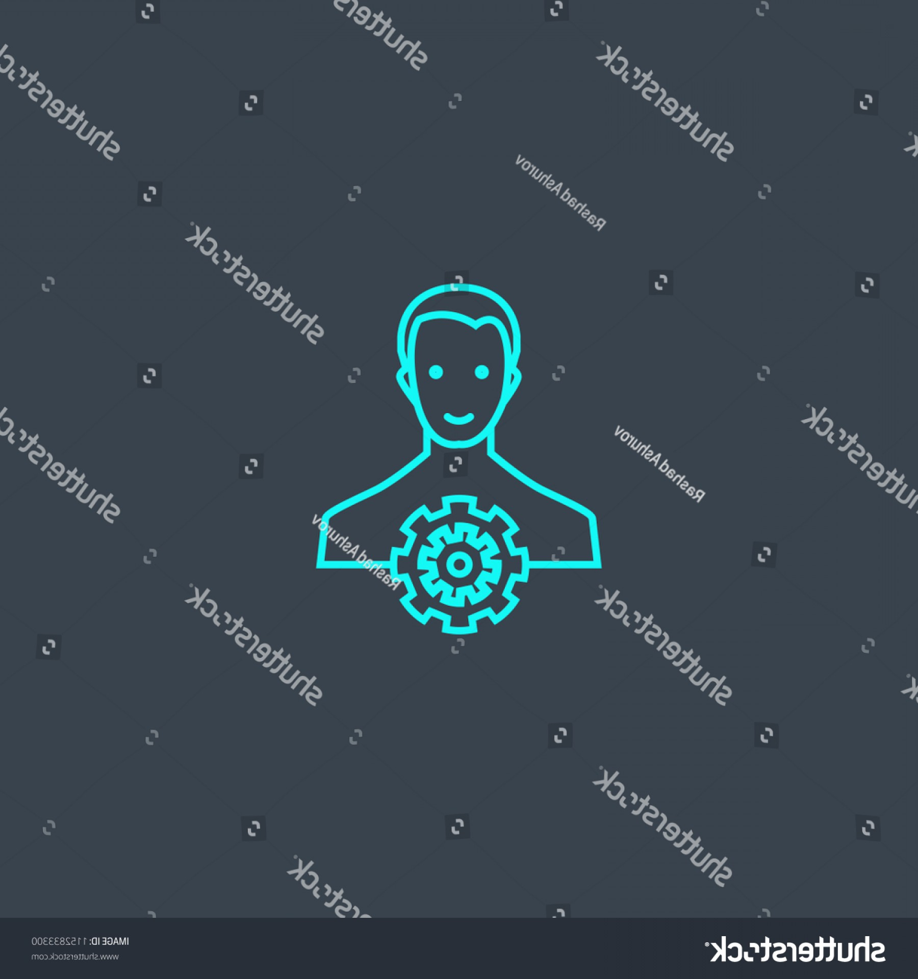 Thin Blue Line Skull Vector: Manager Concept Blue Line Icon Simple
