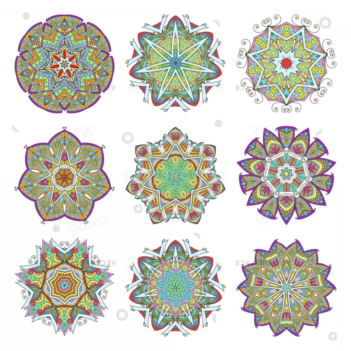 Vector Ornament Sets: Mandala Set Abstract Decorative Background Islam Vector Illustration