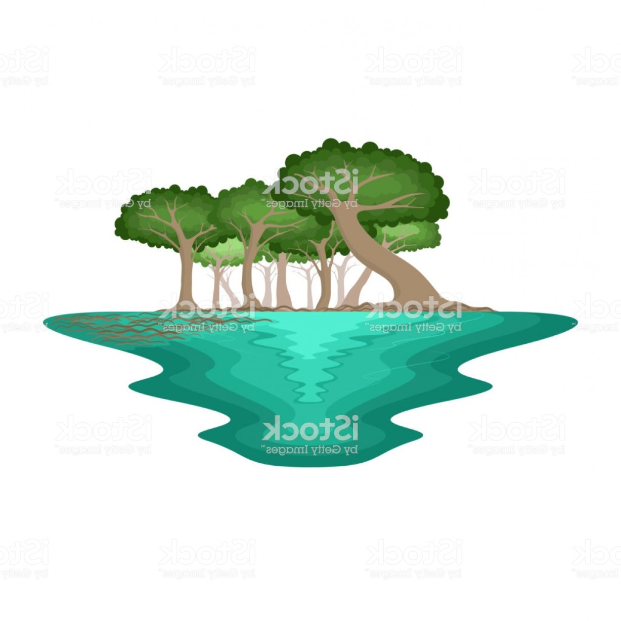 Swamp Vector Art: Mangrove Forest Swamp Environment Tropical Landscape Gm